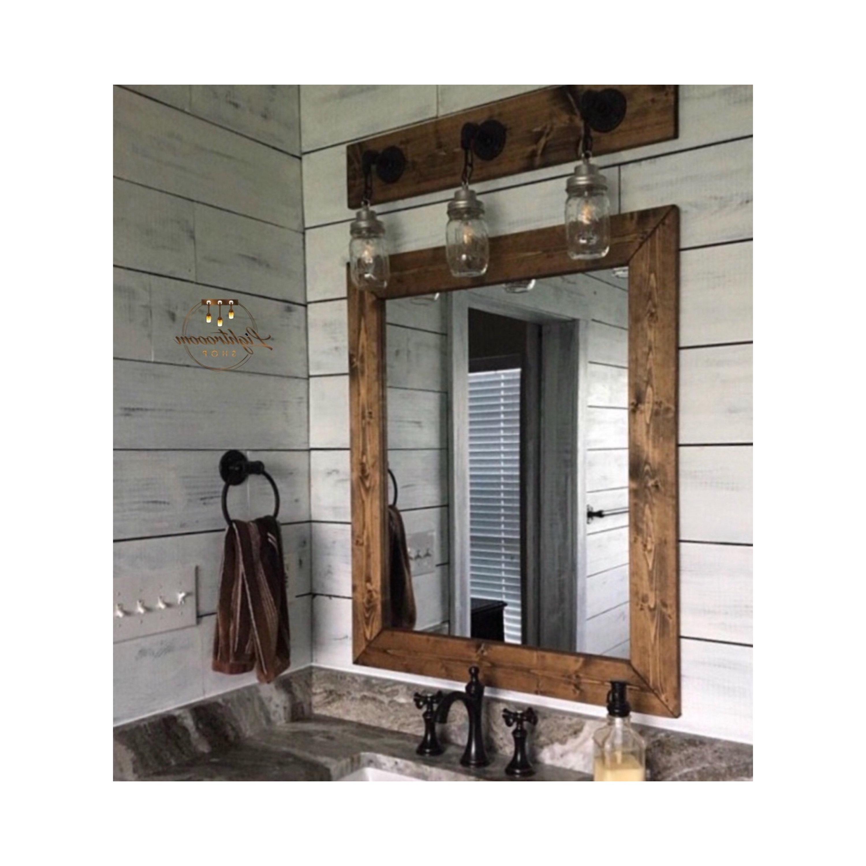 Latest Dark Walnut Wood Framed Mirror, Rustic Wood Mirror, Bathroom Mirror, Wall Mirror, Vanity Mirror Large Mirror, Brackets Mirror, Modern Decor Throughout Bathroom Full Wall Mirrors (Gallery 18 of 20)
