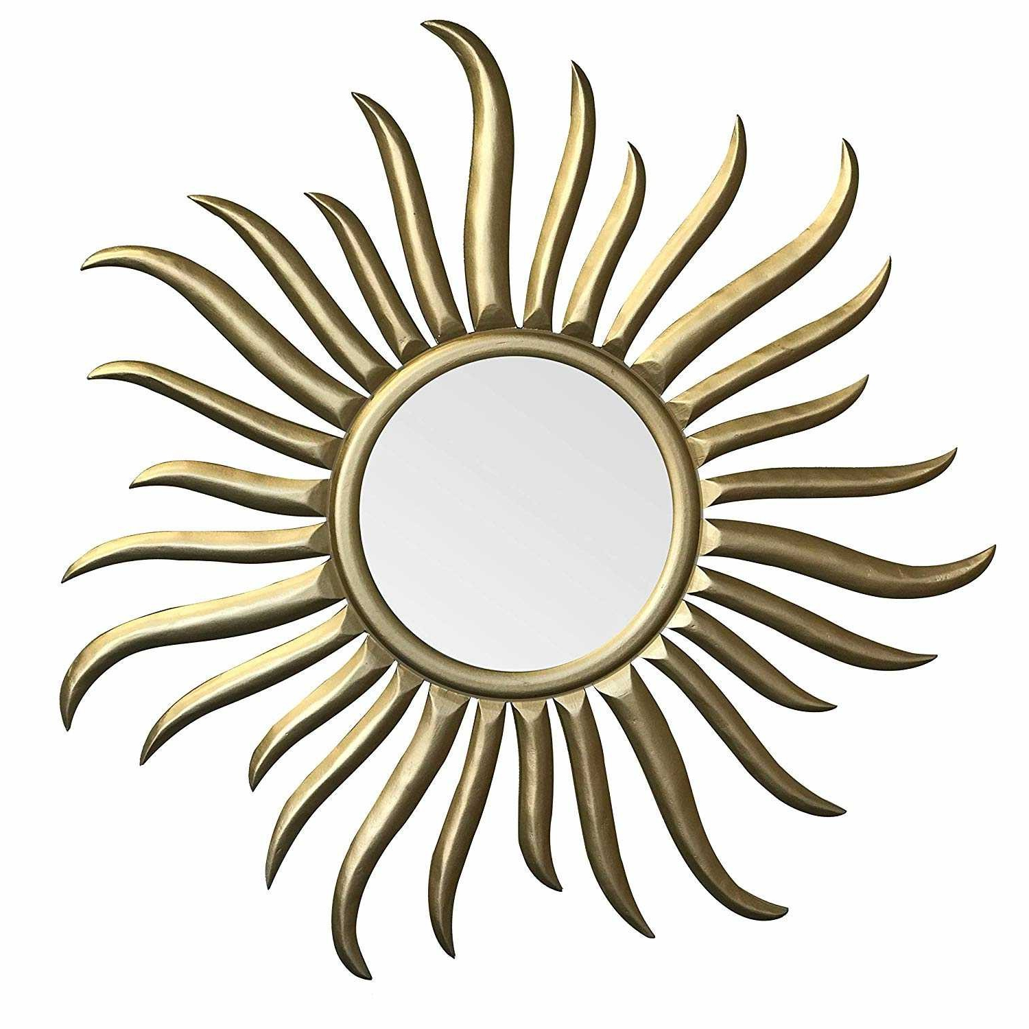 "Latest Decorshore Roi Soleil – Hand Carved & Gilded Wood Sun Wall Sculpture &  Mirror – 35"" Rococo Style Decorative Art Wall Mirror Intended For Soleil Wall Mirrors (View 7 of 20)"