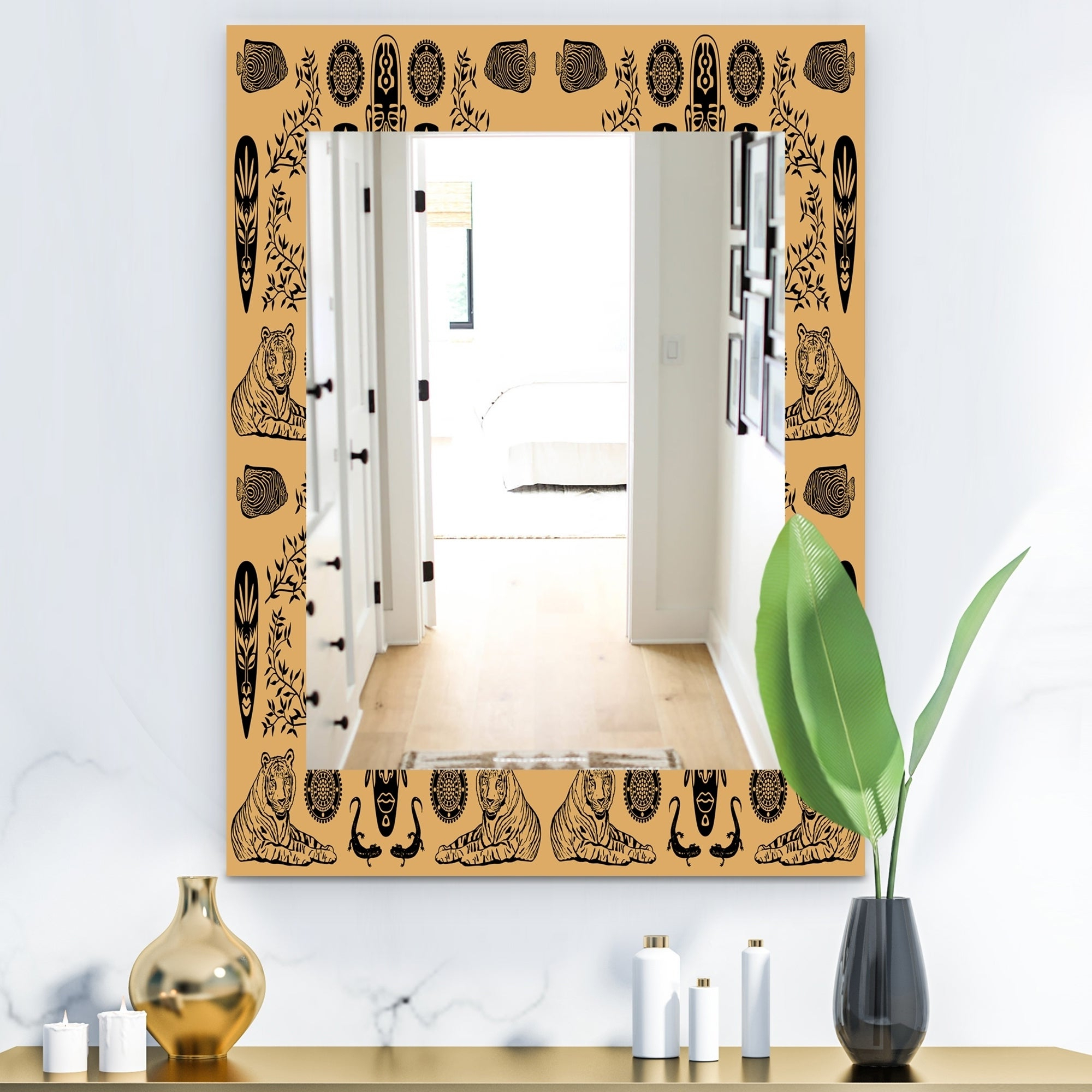 Latest Designart 'ethnic Mask' Bohemian And Eclectic Mirror – Wall Mirror – Orange Pertaining To Ethnic Wall Mirrors (View 10 of 20)