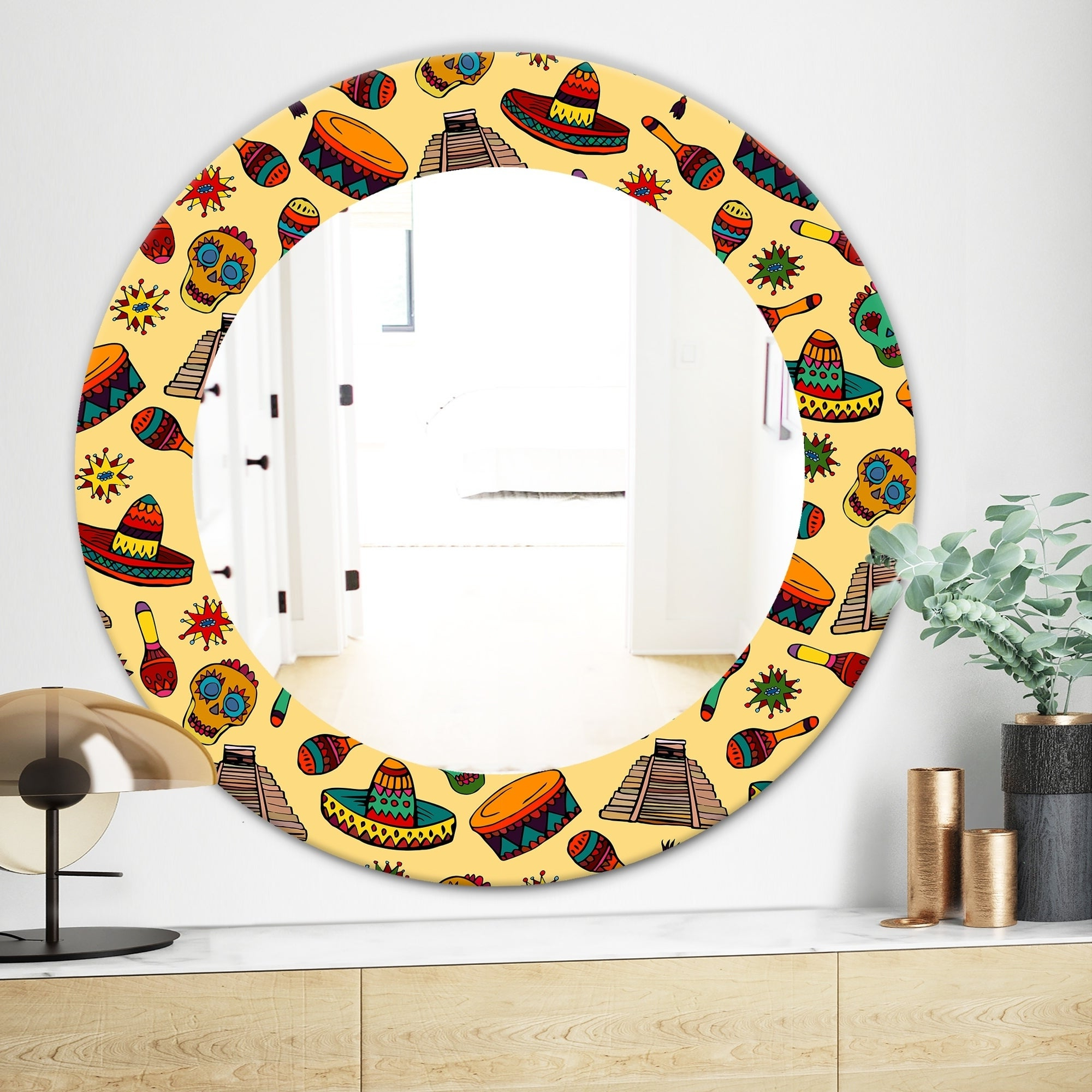 Latest Designart 'pattern With Mexican Symbols' Bohemian And Eclectic Mirror –  Oval Or Round Wall Mirror – Gold Pertaining To Mexican Wall Mirrors (View 6 of 20)