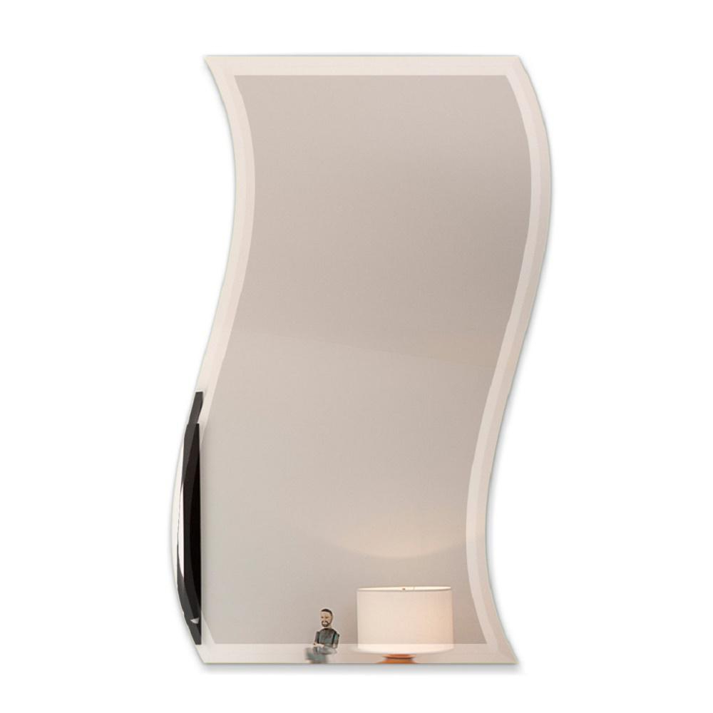 Latest Fab Glass And Mirror 24 In. X 36 In. Wavy Beveled Polish Frameless Inside Wavy Wall Mirrors (Gallery 13 of 20)