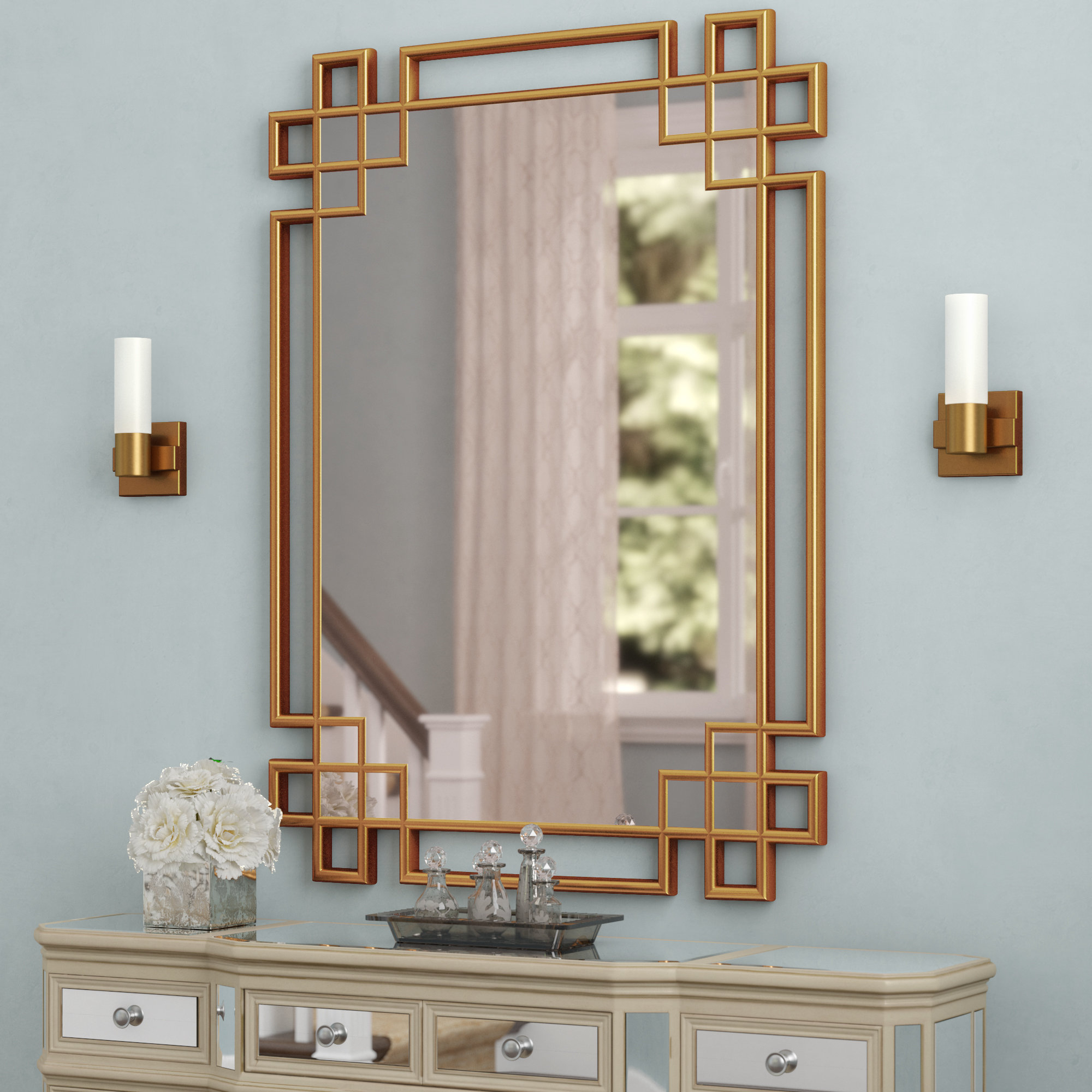 Latest Gold Wall Mirrors Within Hrima Rectangle Gold Wall Mirror (View 5 of 20)