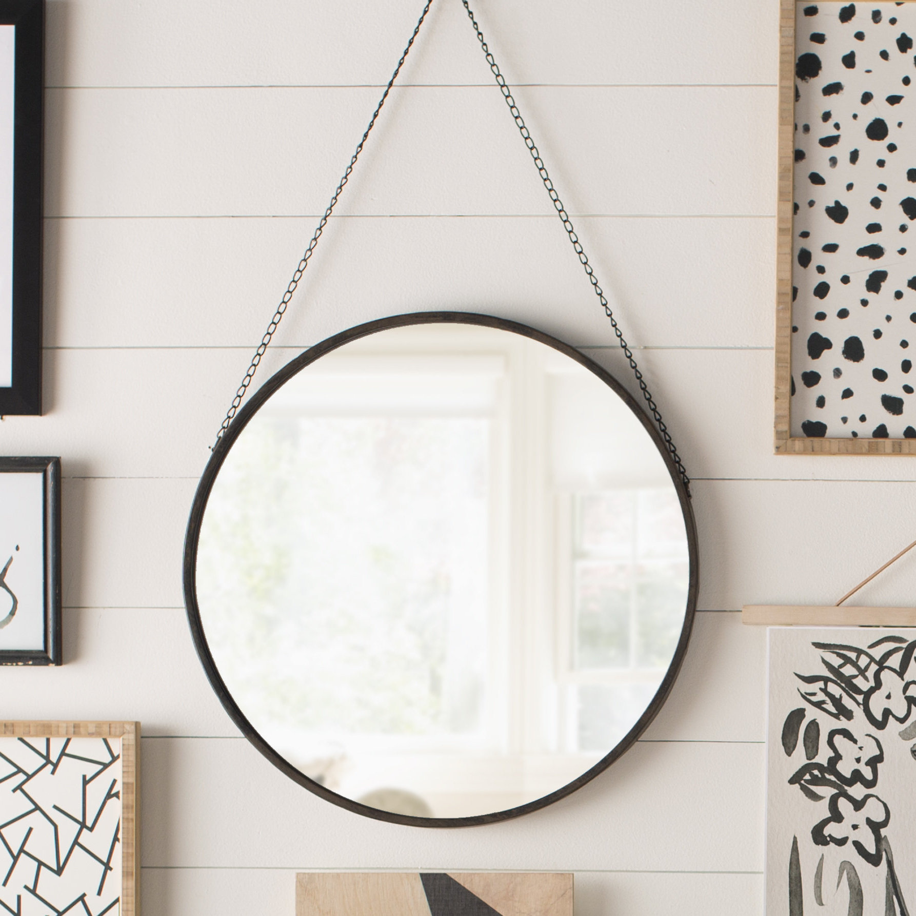 Latest Hardison With Chain Hanger Accent Mirror For Loftis Modern & Contemporary Accent Wall Mirrors (Gallery 14 of 20)