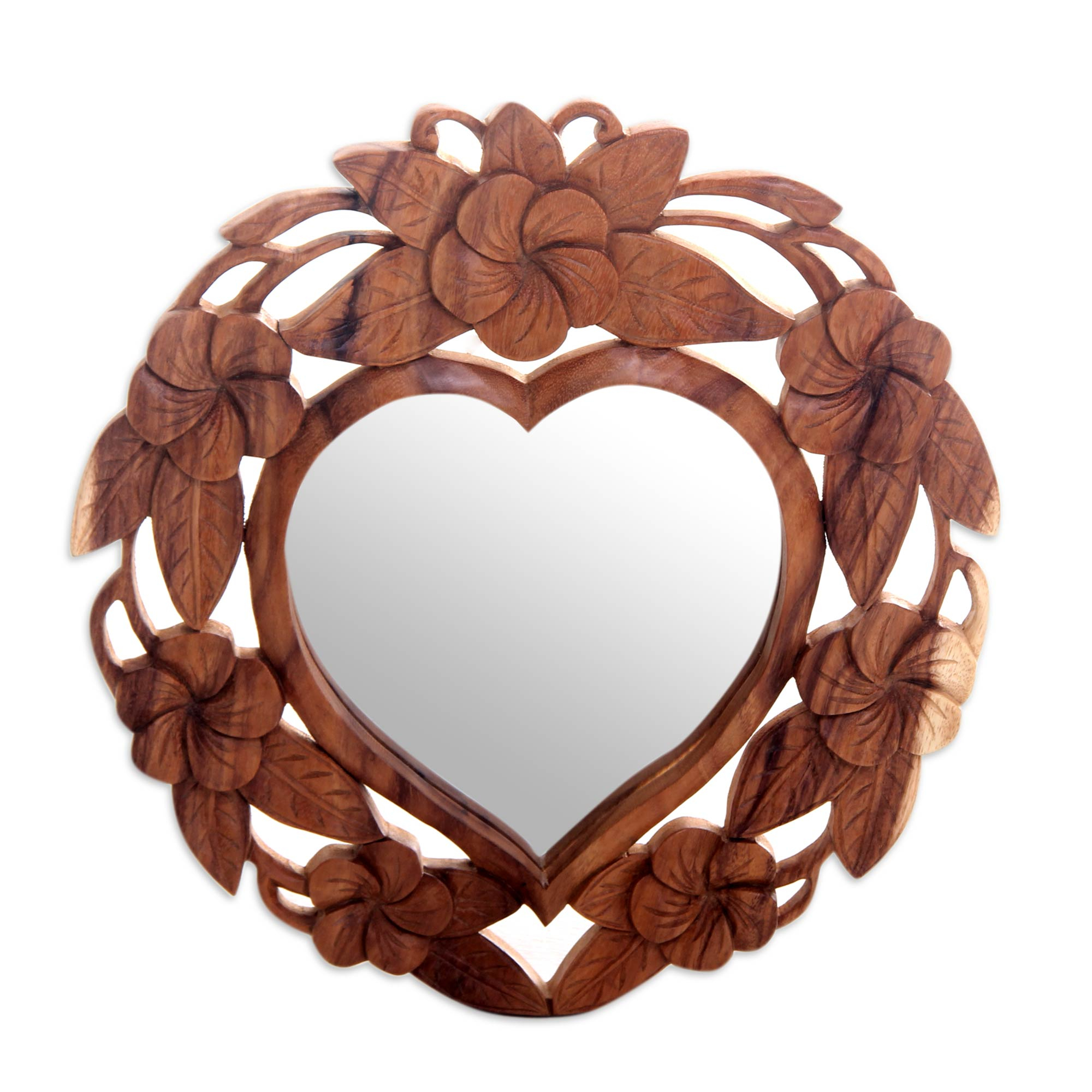Latest Heart Shaped Wall Mirrors Pertaining To Heart Shaped Wood Wall Mirror With Floral Motif, 'frangipani Heart' (View 12 of 20)