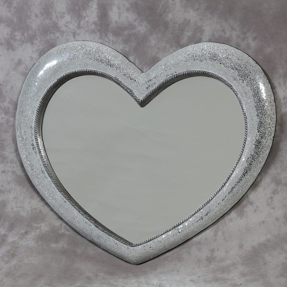 Latest Heart Wall Mirrors Inside Large Mosaic Crackle Glass Heart Wall Mirror (View 9 of 20)