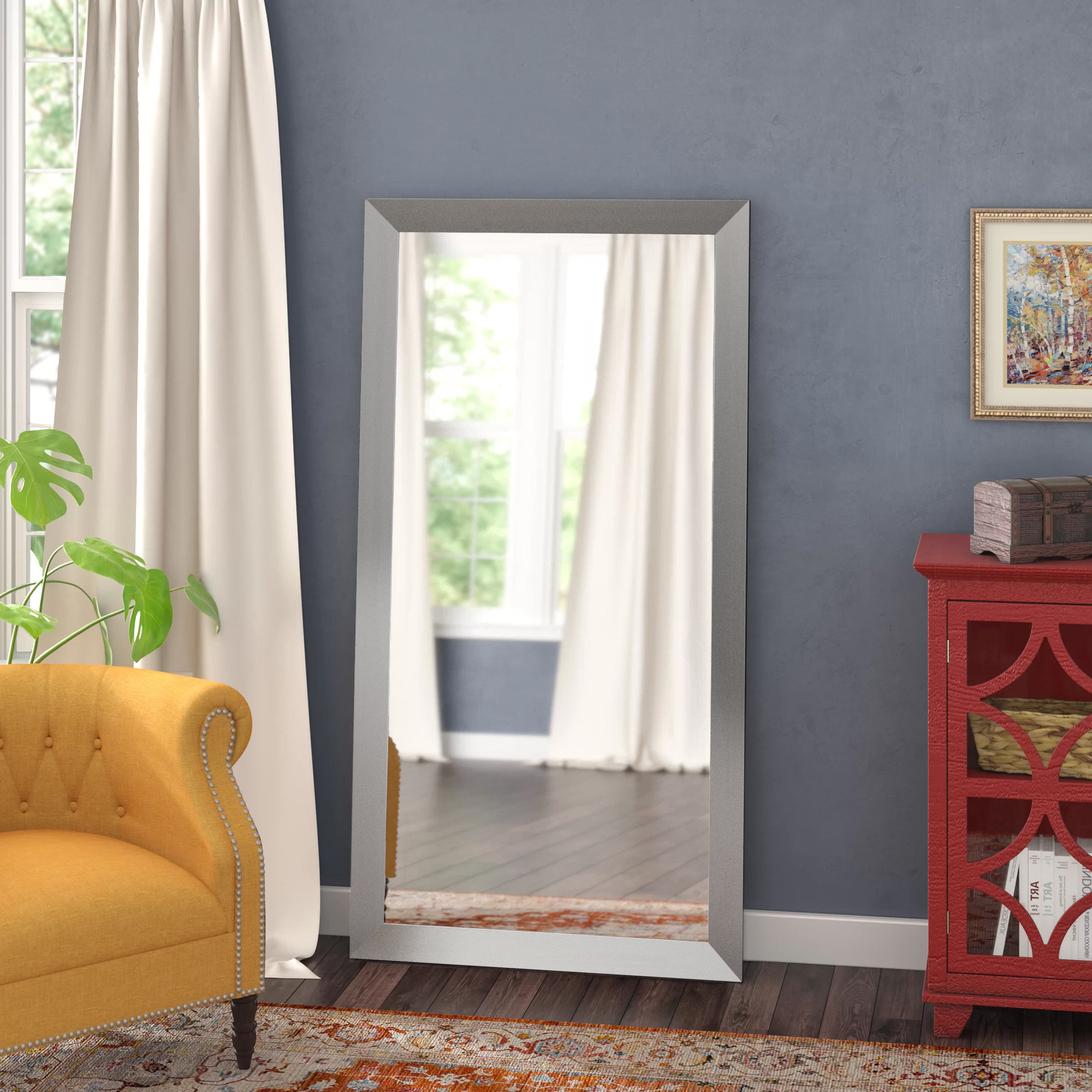Latest Hogge Modern Brushed Nickel Large Frame Wall Mirrors Intended For Hogge Full Length Mirror (View 5 of 20)