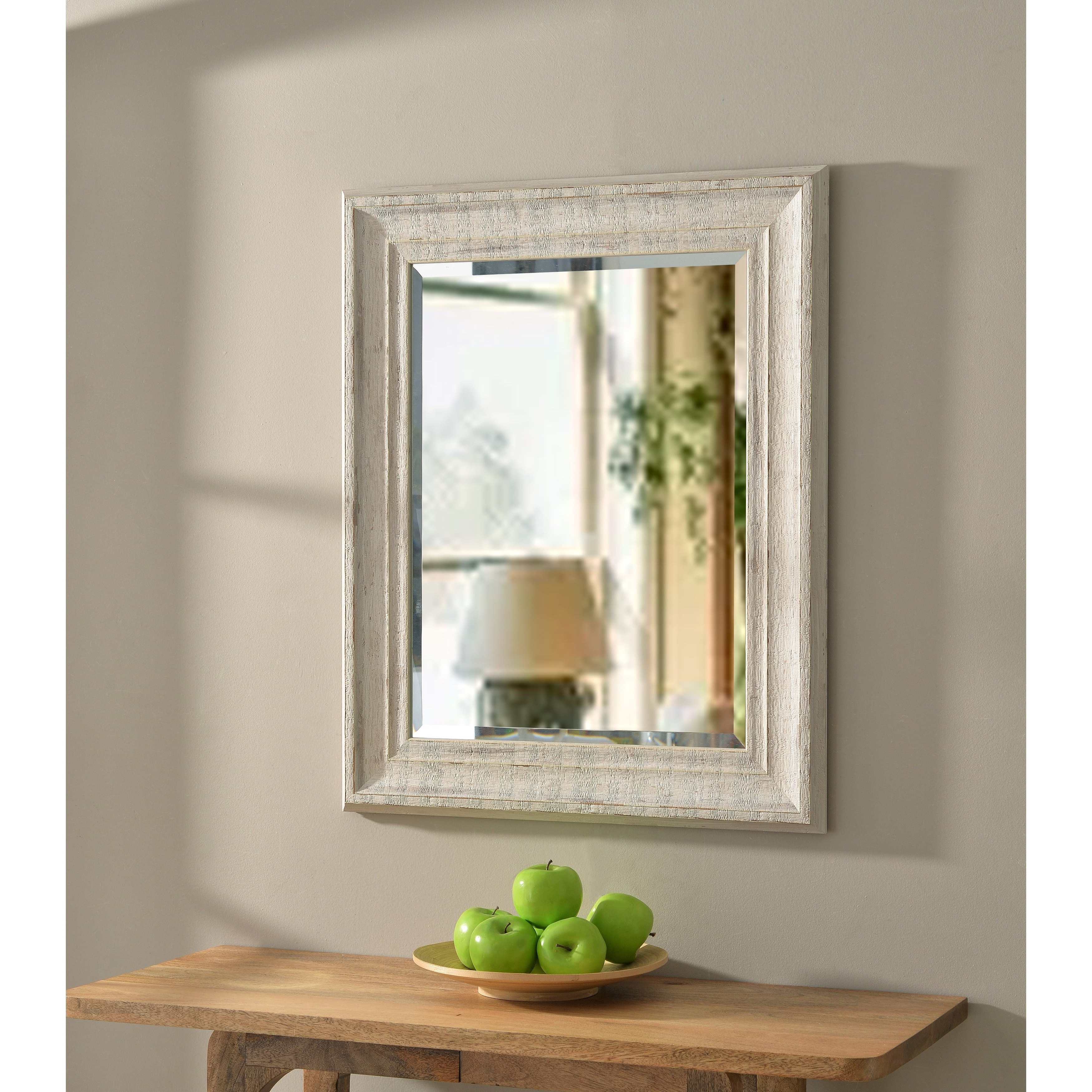 Latest Hunter 31 Inch Distressed White Wood Wall Mirror Throughout Distressed White Wall Mirrors (Gallery 17 of 20)