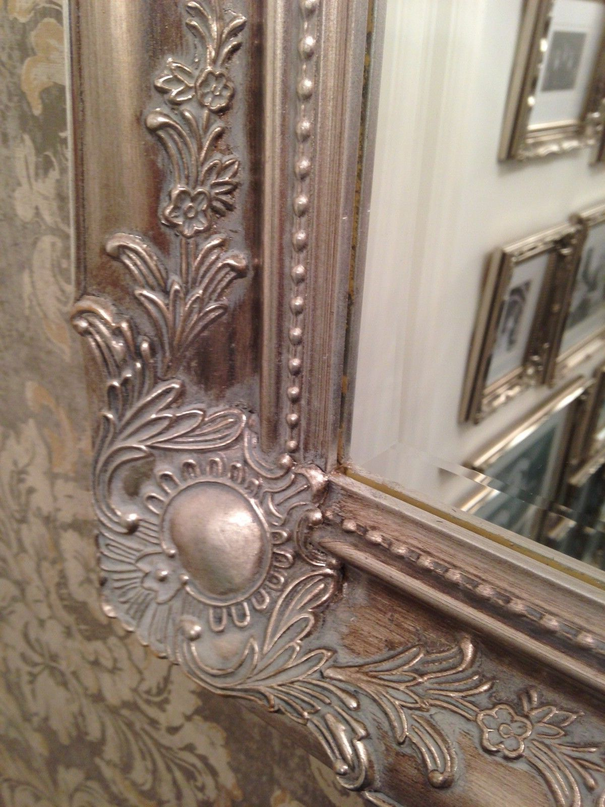 Latest Large Antique Wall Mirrors Intended For Large Antique Silver Shabby Chic Ornate Decorative Over Mantle Wall Mirror (View 15 of 20)