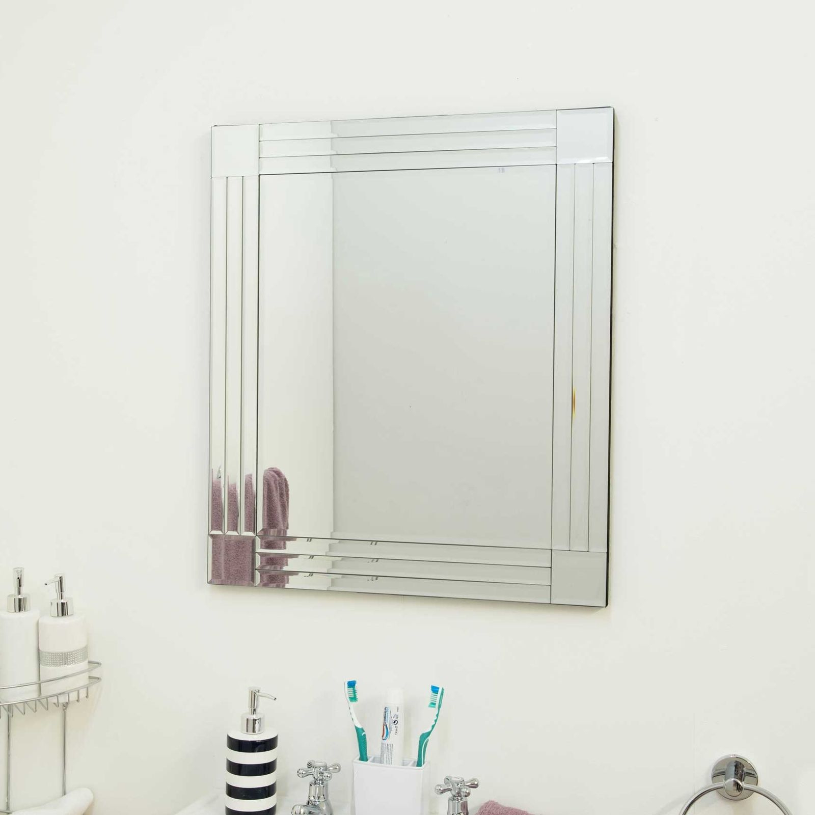 Latest Large Bathroom Wall Mirrors For Large Bathroom Wall Mirror Triple Bevelled 2Ft3 X 1Ft11 68 X 58Cm (View 8 of 20)