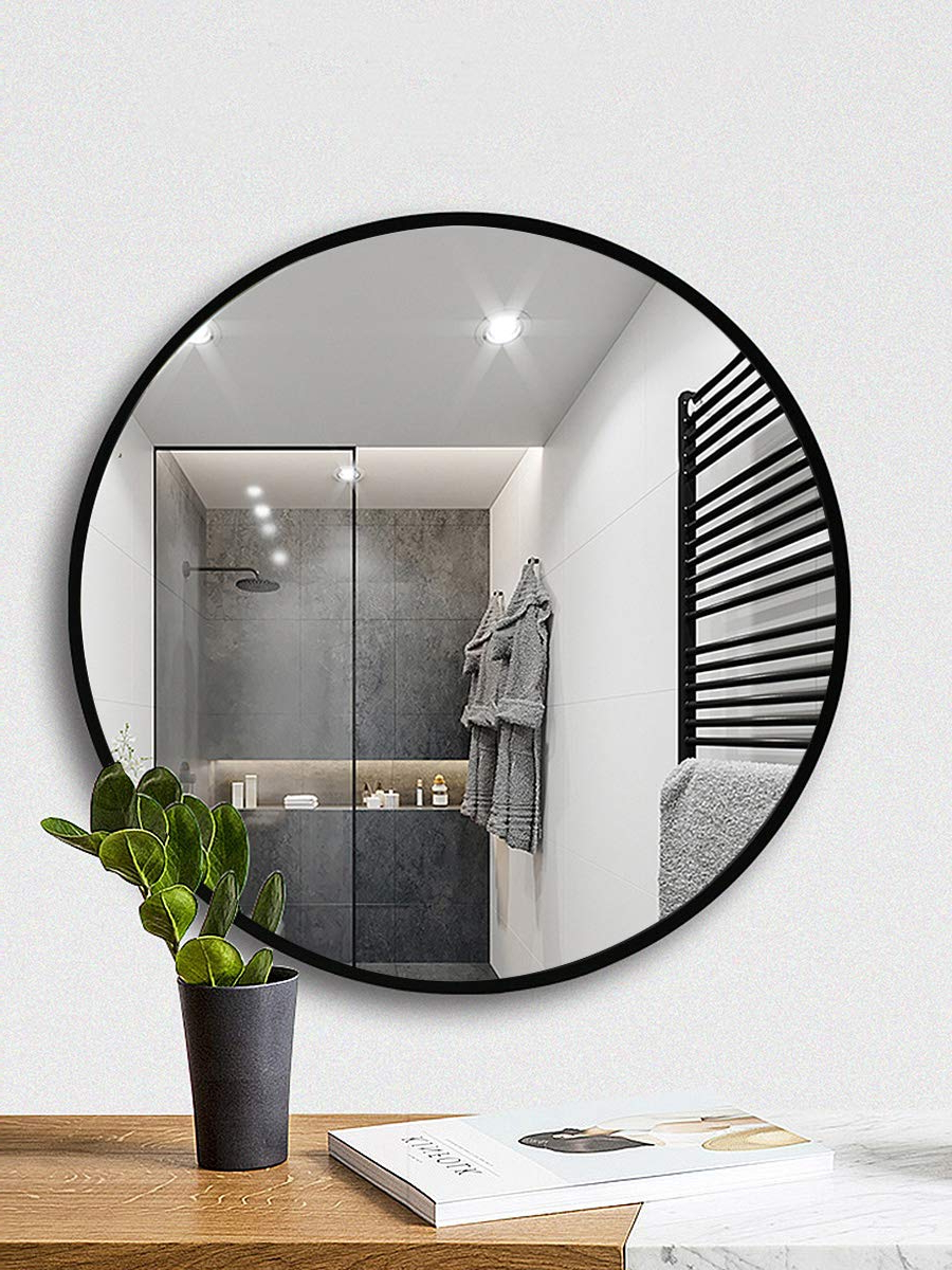 """Latest Large Circular Wall Mirrors For Tinytimes 23.63"""" Wall Mirror, Round Vanity Mirror, Wooden Frame, Large,  Clean, Decor, For Entryways, Living Rooms, Bathroom, Round Wall Mirror  (Black) (Gallery 11 of 20)"""