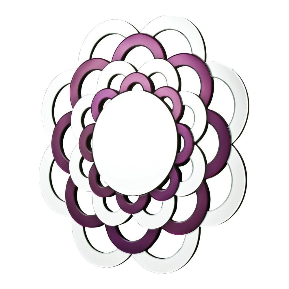 Latest Large Purple And Silver Circular Sun Flower Wall Mirror With Regard To Purple Wall Mirrors (View 7 of 20)