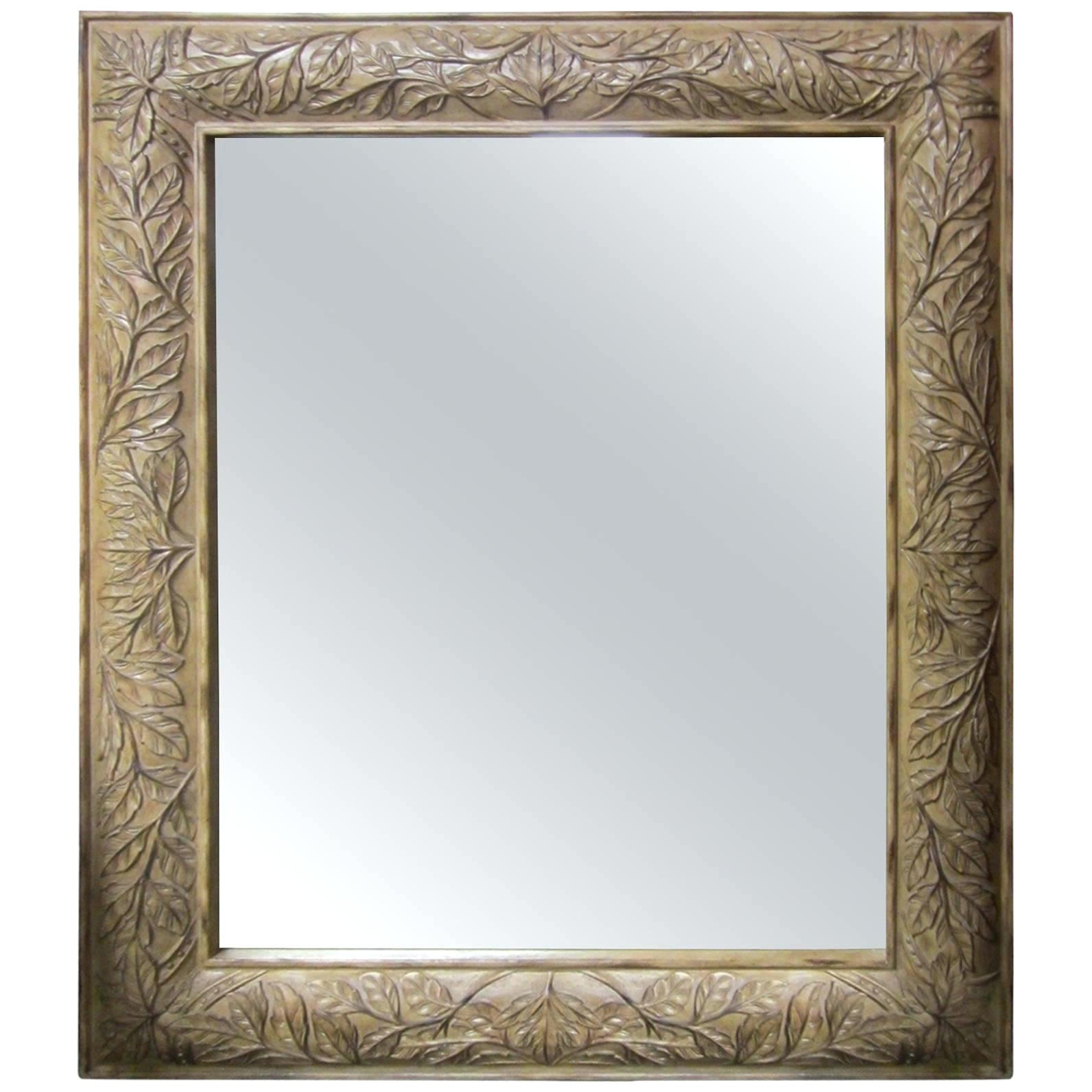 Latest Large Silver Framed Wall Mirror In Large Wall Mirror With Frame Of Floor A Carved Wood For Sale (Gallery 20 of 20)