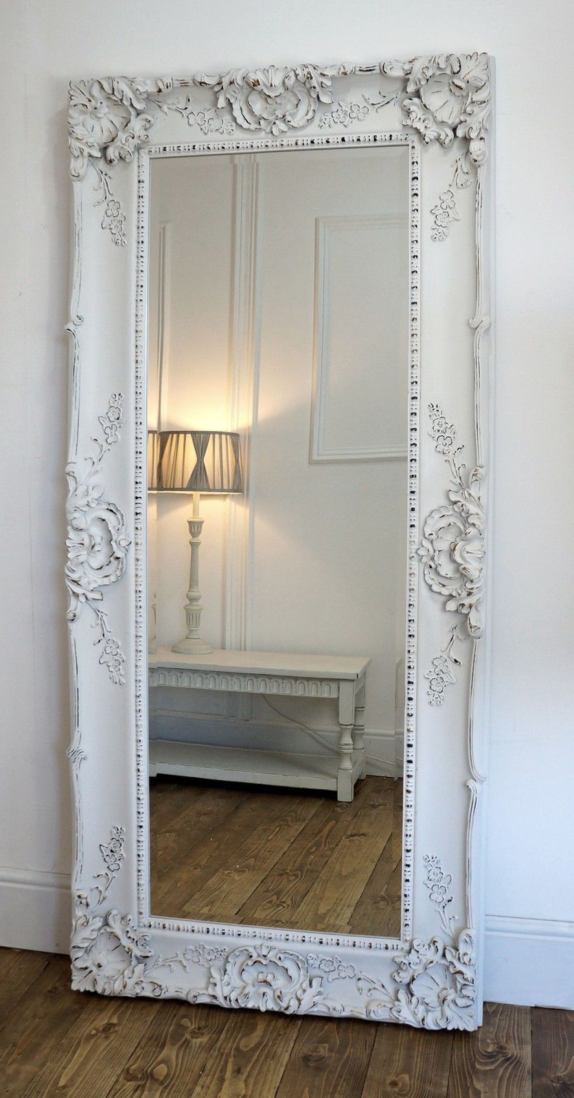 """Latest Large White Wall Mirrors Intended For Grasmere White Ornate Rectangle Antique Wall Mirror 31"""" X (View 10 of 20)"""