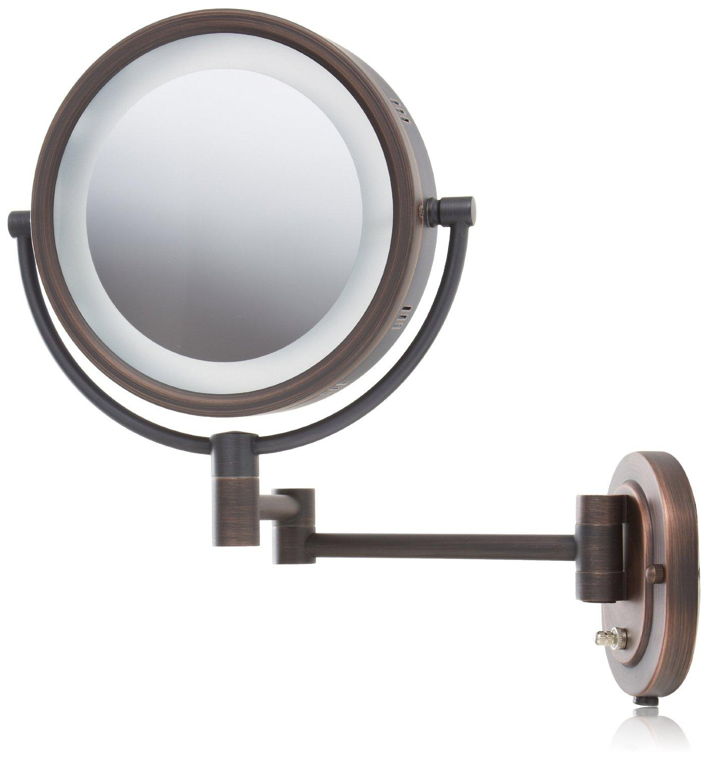 Latest Make Up Wall Mirrors Throughout Jerdon Hl65bz 8 Inch Lighted Wall Mount Makeup Mirror With 5x Magnification, Bronze Finish (View 18 of 20)