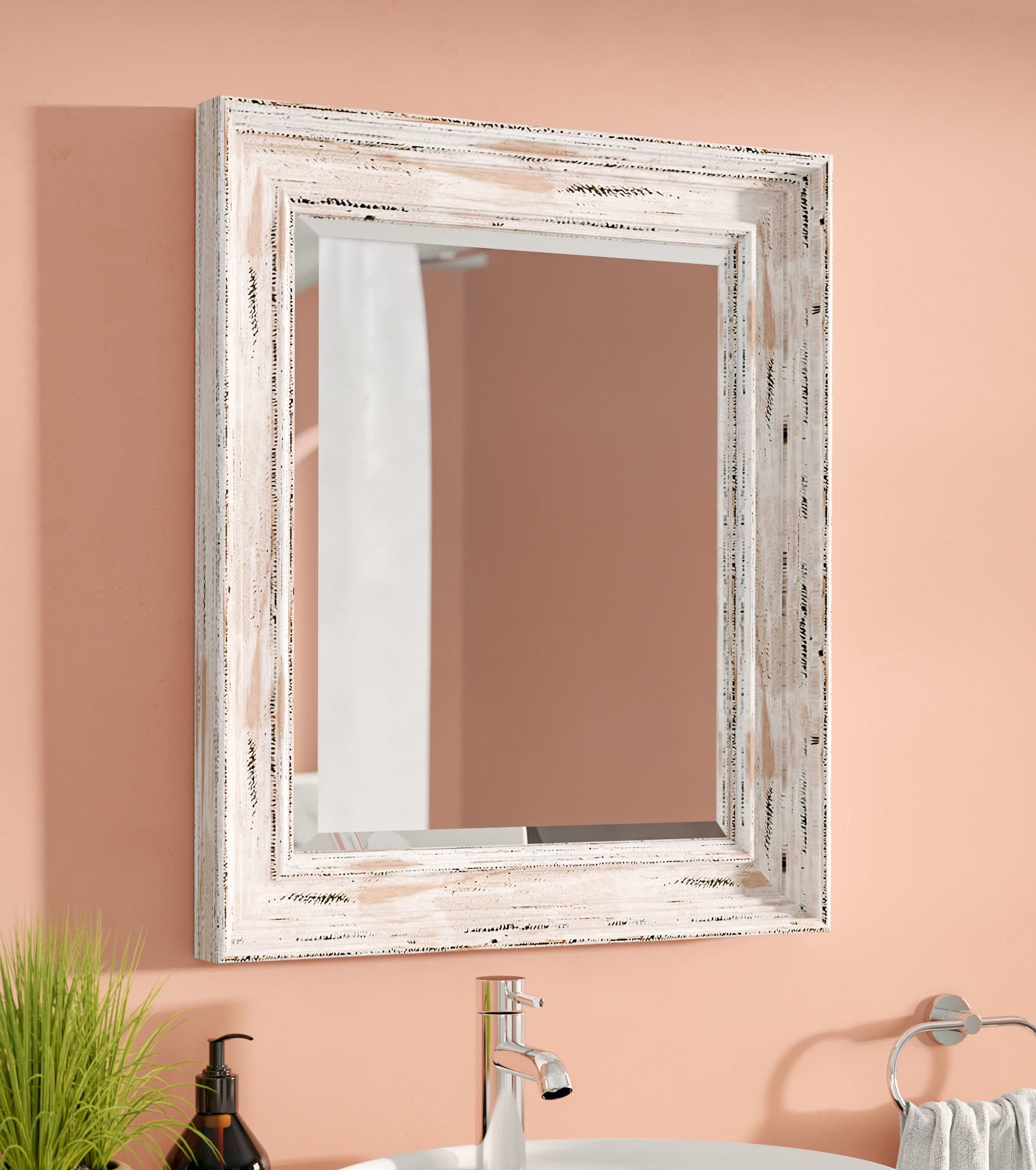 Latest Marion Wall Mirrors Regarding Marion Beveled Distressed Bathroom Wall Mirror (View 9 of 20)