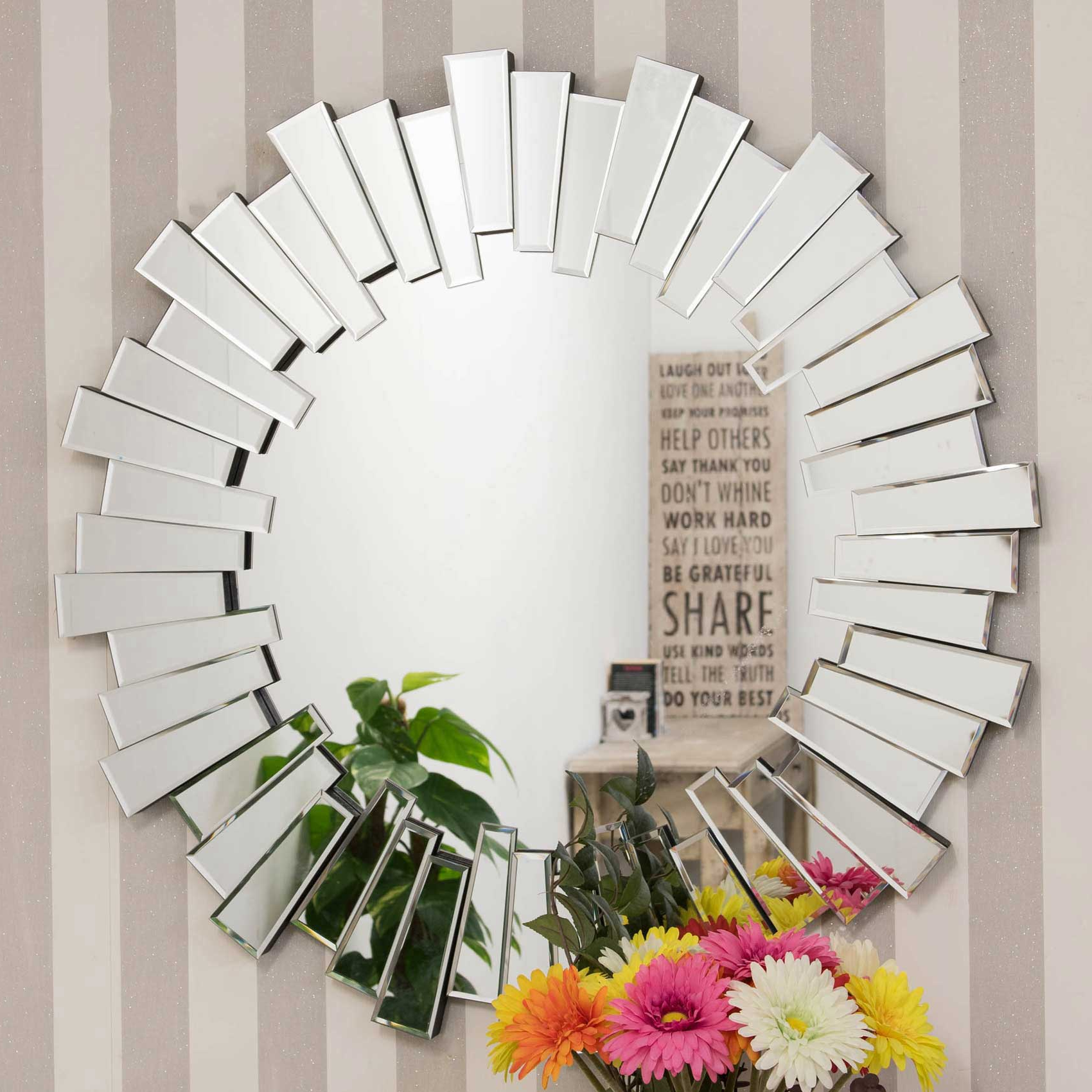 Latest Modern Round Sunburst Venetian Wall Mirror 90X90Cm Throughout Modern Round Wall Mirrors (View 8 of 20)