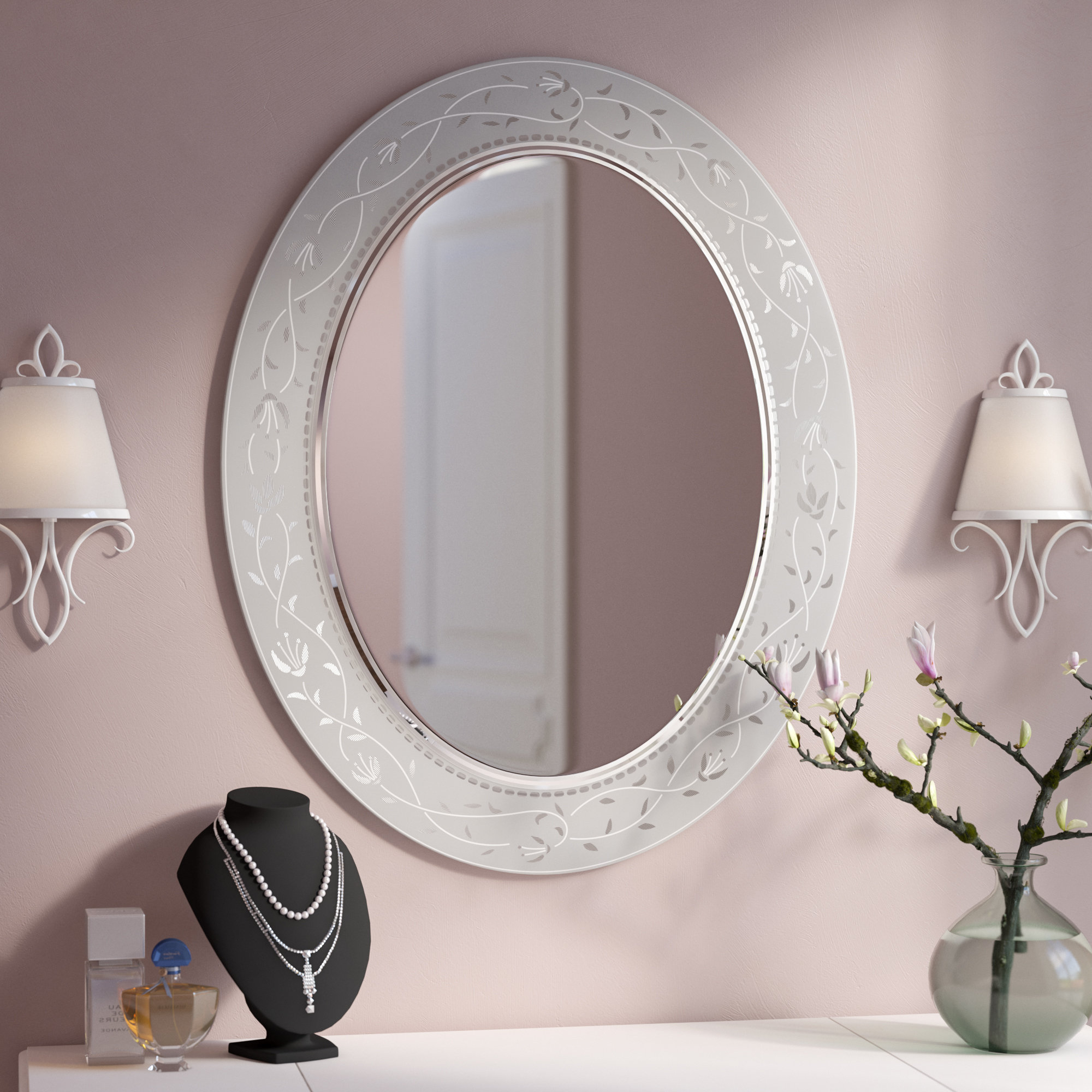 Latest Morandiere Etched Border Bathroom/vanity Mirror Pertaining To Etched Wall Mirrors (View 20 of 20)