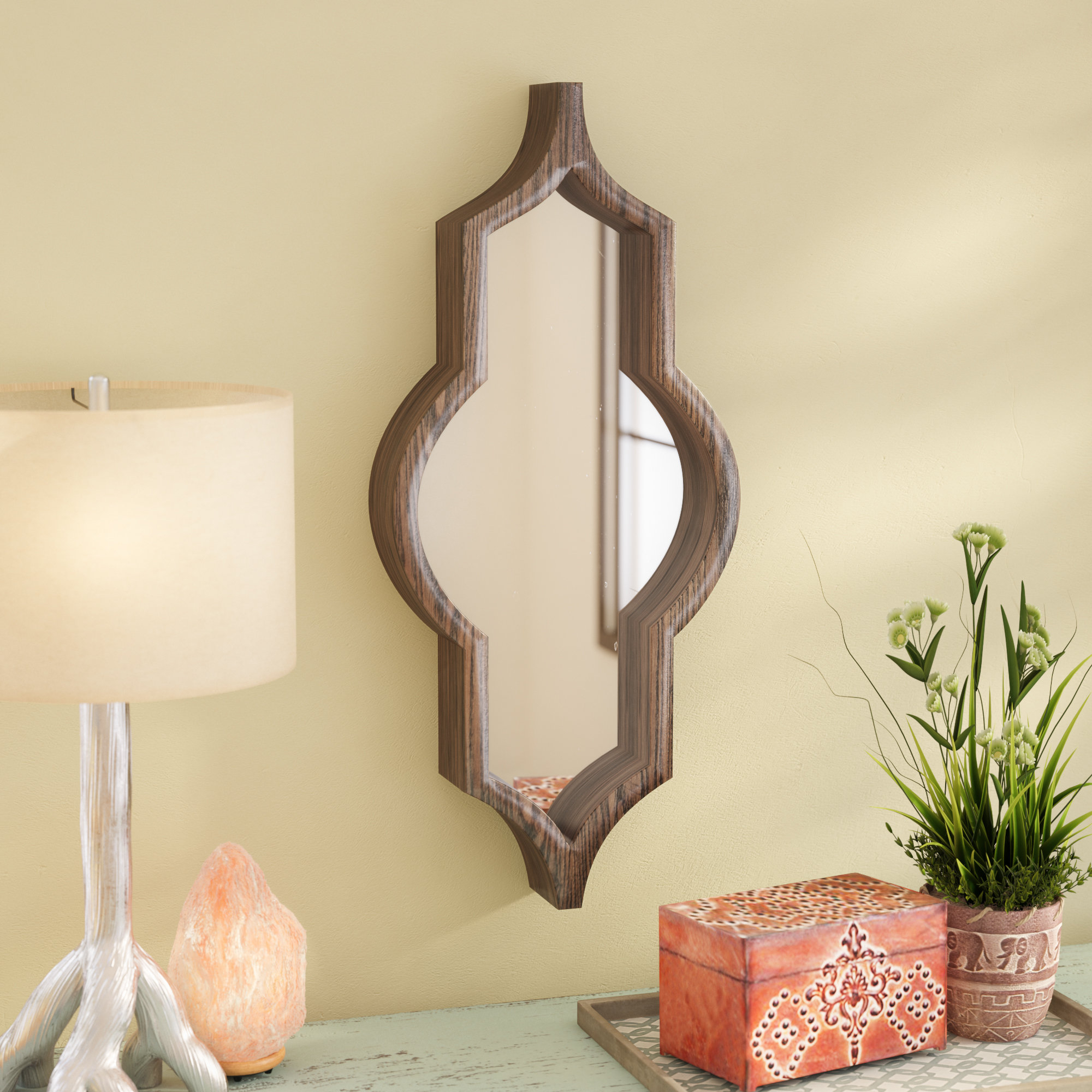 Latest Padang Irregular Wood Framed Wall Mirrors Within Mistana Padang Irregular Wood Framed Wall Mirror (View 2 of 20)