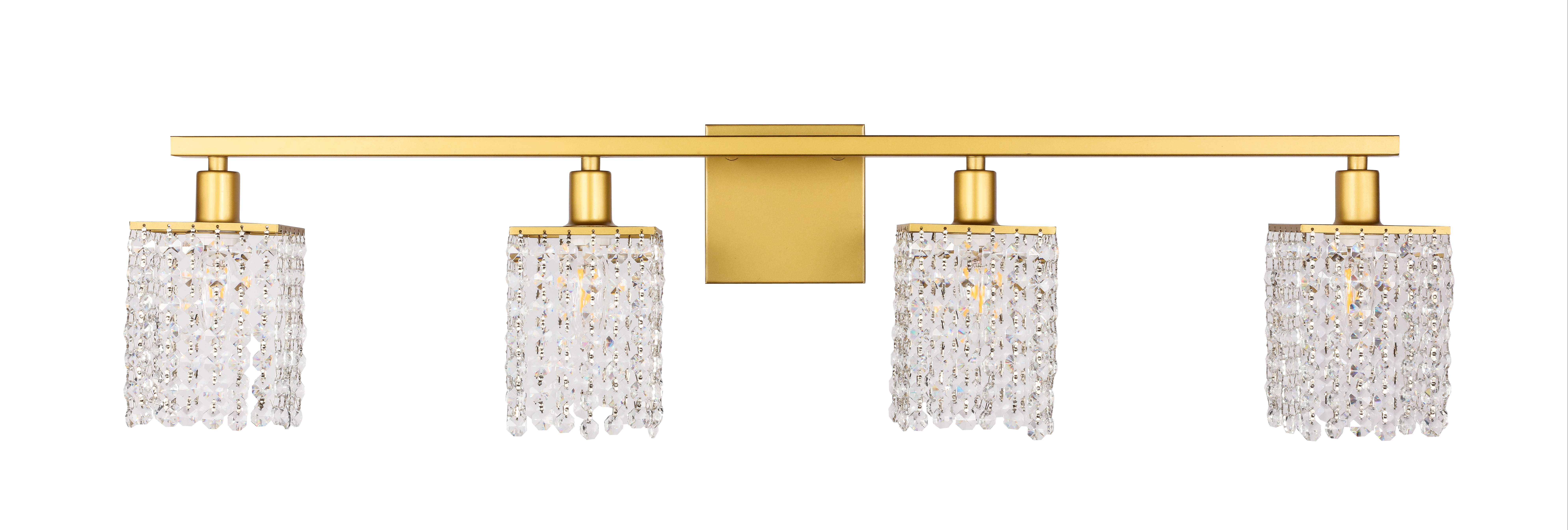 Latest Phineas Wall Mirrors In Details About Phineas 4 Light Brass And Clear Crystals Wall Sconce (Gallery 14 of 20)