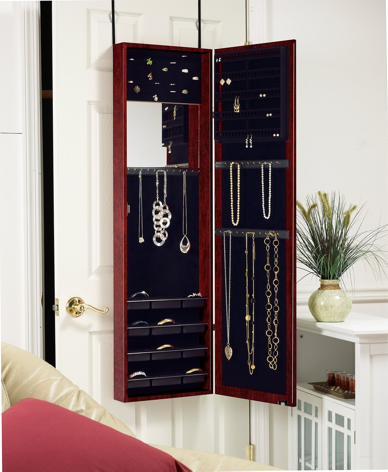 Latest Plaza Astoria Over The Door/wall Mount Jewelry Armoire With Full Length  Mirror, Lined Storage Interior, Vanity Mirror, Cherry Pertaining To Jewelry Wall Mirrors (View 10 of 20)