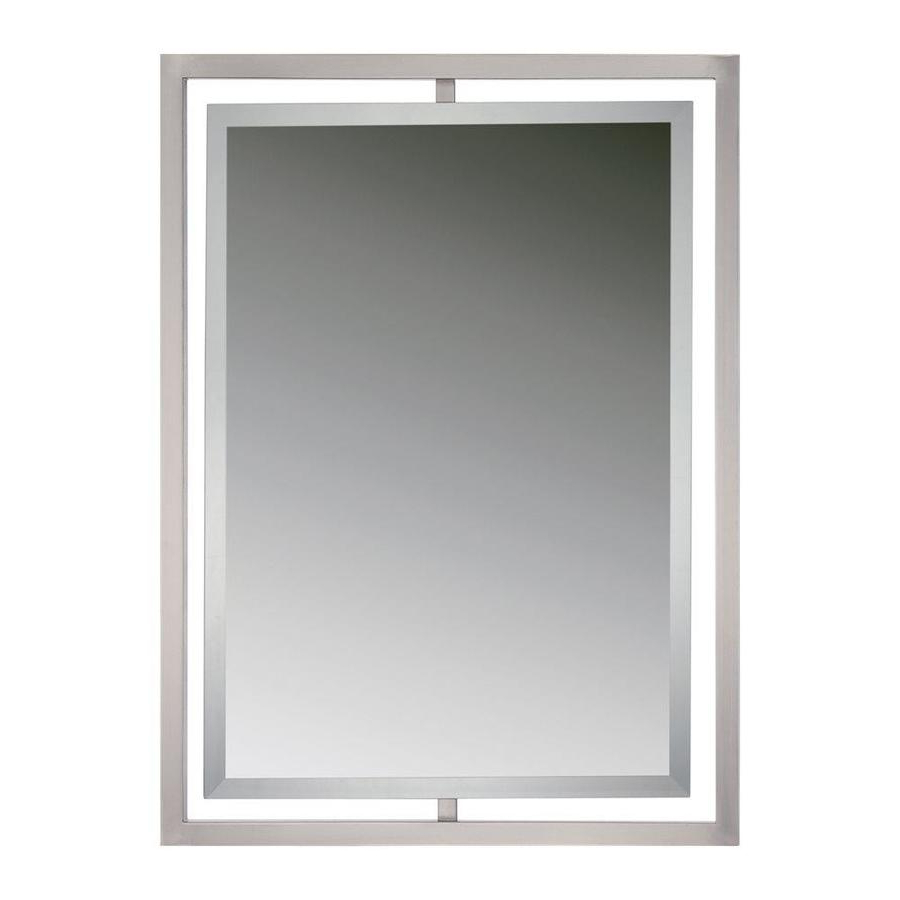 Latest Quoizel Reflections 32 In L X 24 In W Brushed Nickel Beveled Wall With Regard To Brushed Nickel Wall Mirrors (Gallery 5 of 14)