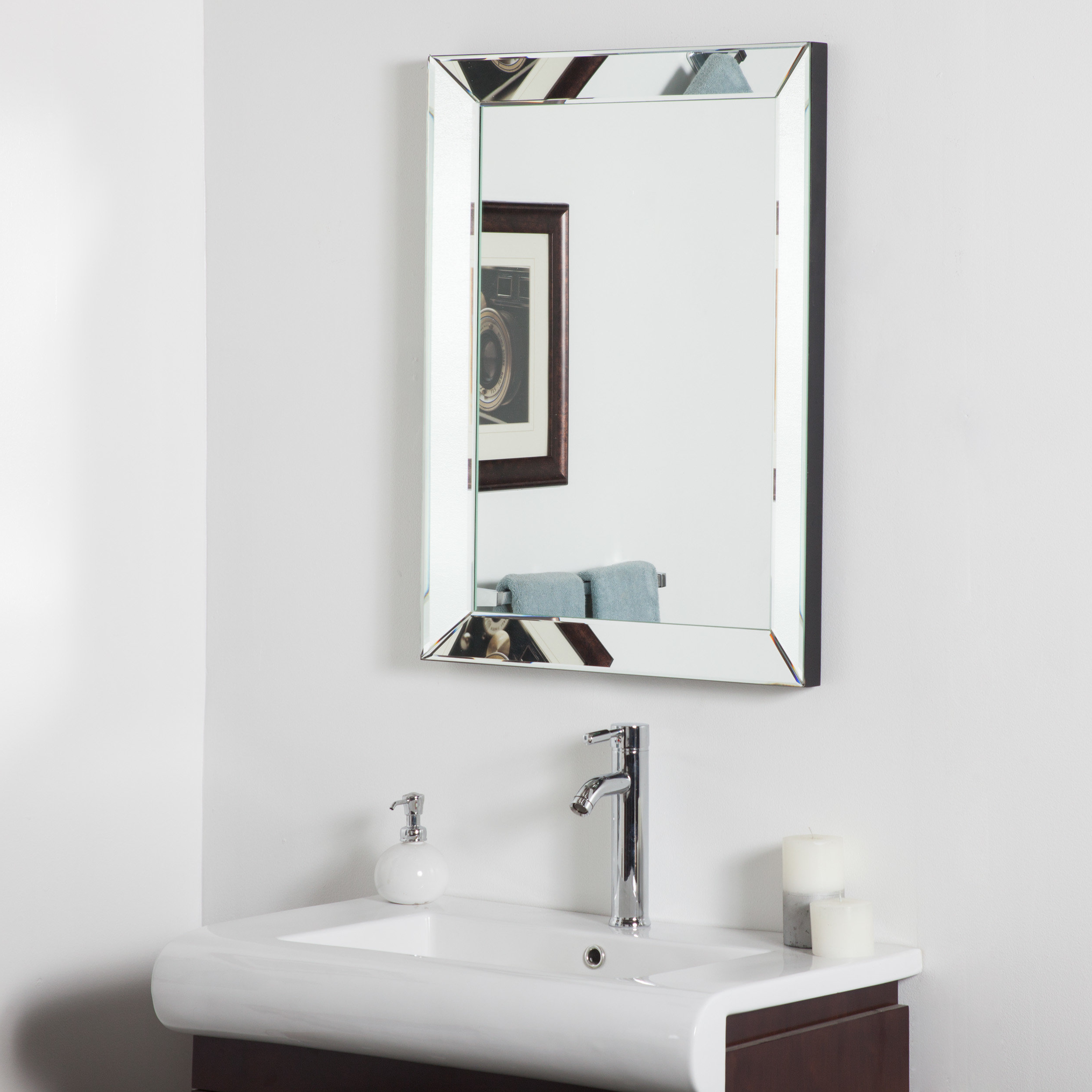 Latest Rectangle Silver Vanity Wall Mirror Intended For Tetbury Frameless Tri Bevel Wall Mirrors (Gallery 18 of 20)