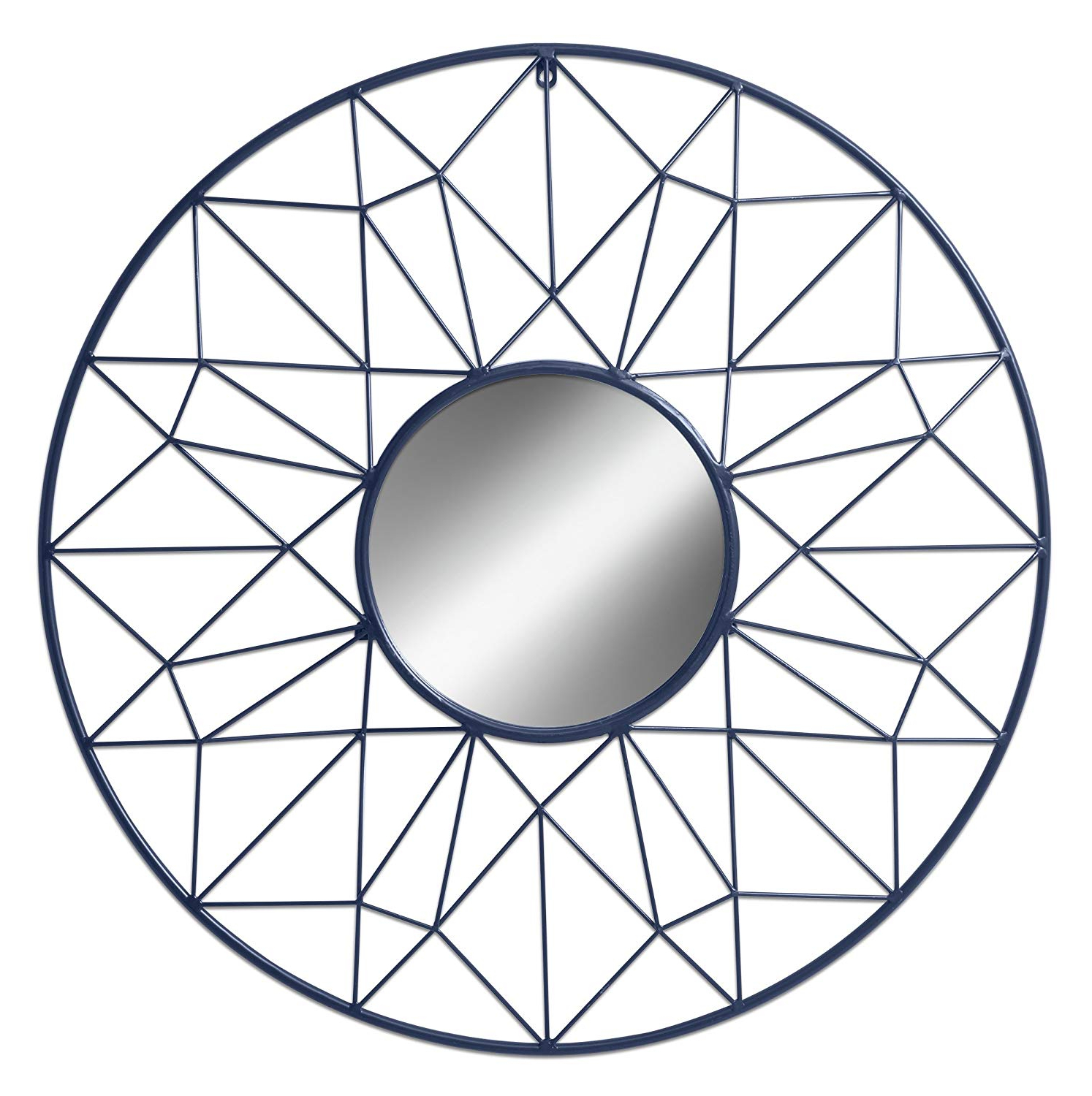 Latest Romain Accent Mirrors Within Renata Geometric Round Metal Accent Mirror With 31.5 Inch Diameter, Navy  Blue (Gallery 17 of 20)