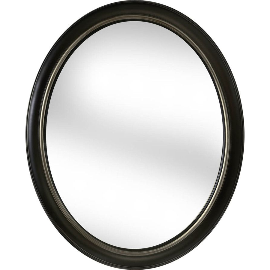 Latest Shop Allen + Roth 24 In X 30 In Oil Rubbed Bronze Oval Framed Wall Throughout Black Oval Wall Mirrors (Gallery 15 of 20)