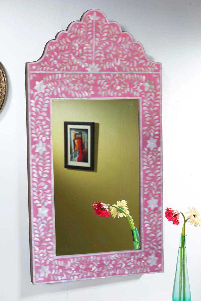 Latest Shop Online Pink Mother Of Pearl Inlay Mirror Frames (Gallery 17 of 20)