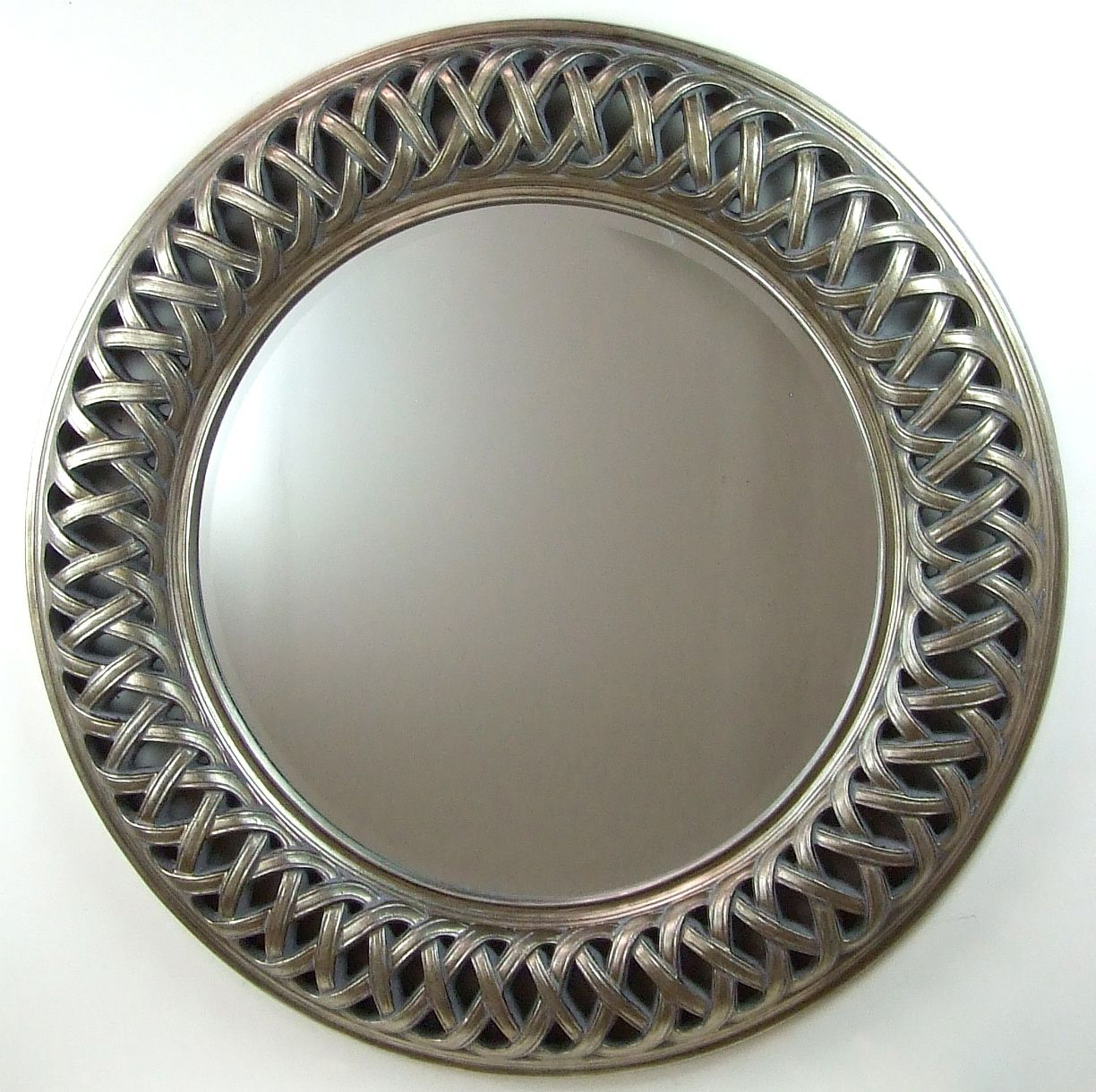 Latest Silver Round Wall Mirrors Within Venice Very Large Round Wall Mirror Silver Frame Art Deco 112Cm (Gallery 8 of 20)