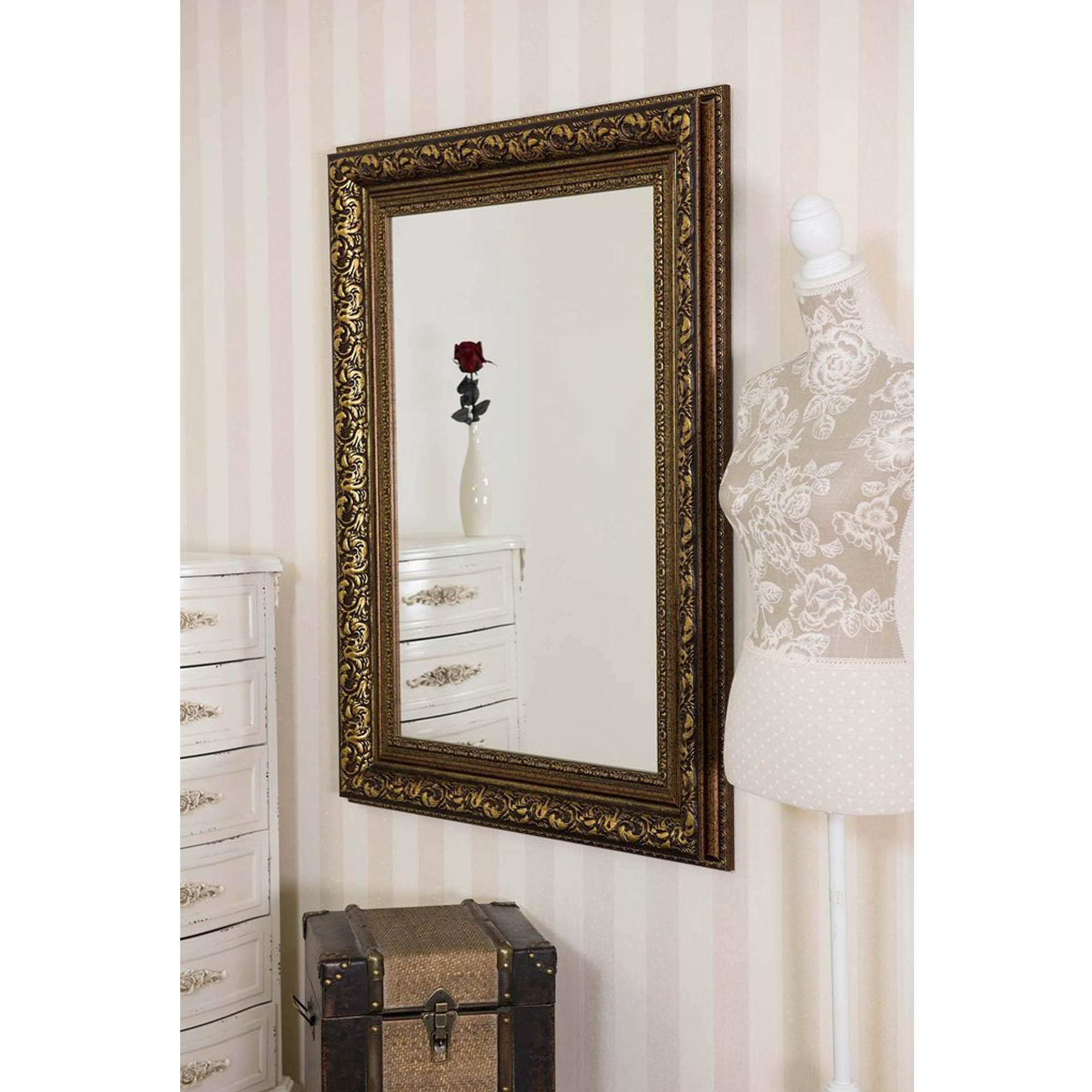 Latest Small Wall Mirrors Inside Small Antique French Style Bronze Wall Mirror (View 12 of 20)