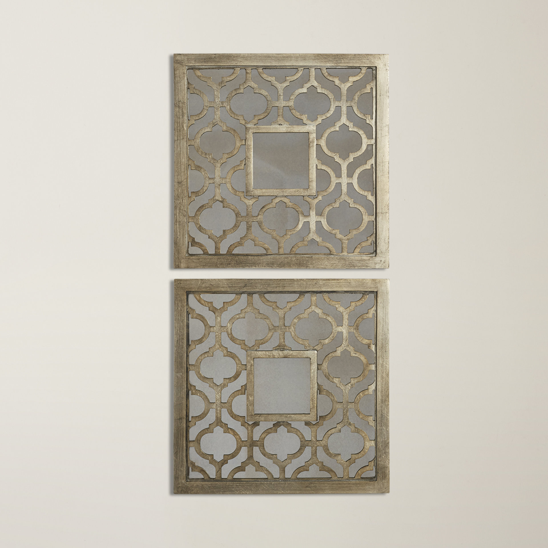 Latest Uptal Square Silver Leaf Wall Mirror Throughout Ulus Accent Mirrors (View 7 of 20)