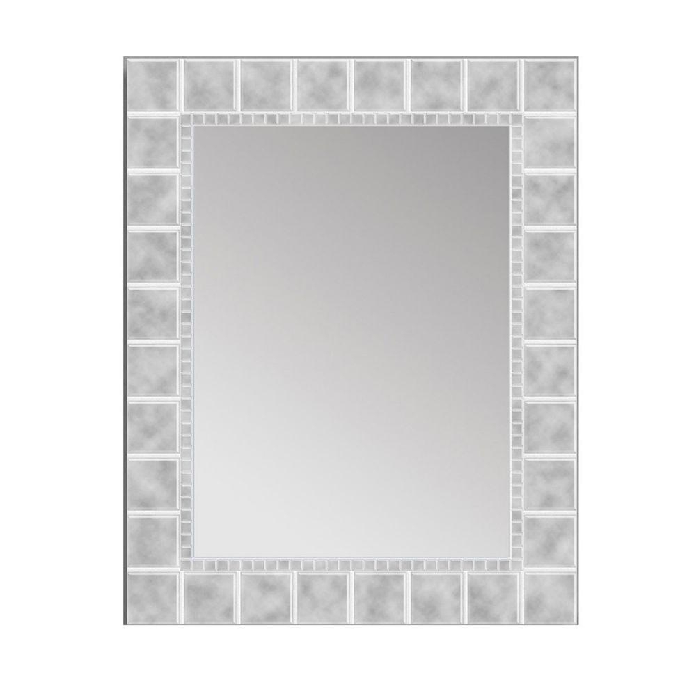 Latest Vanity Wall Mirrors For Bathroom With Deco Mirror 36 In. L X 24 In. W Large Glass Block Rectangle Wall Mirror (Gallery 19 of 20)