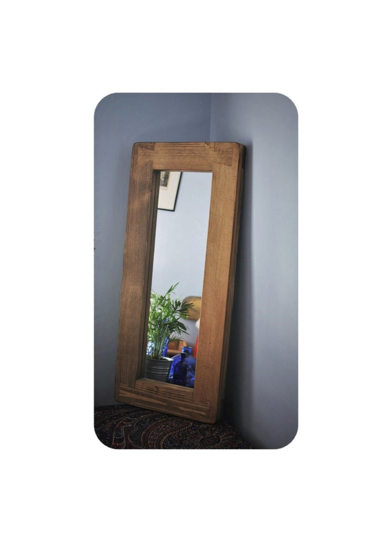 Latest Wall Mirror In Rustic Dark Wood, Thick Eco Wood Frame, Tall & Narrow 69 X  31 Cm, Modern Country Farmhouse – Custom Handmade In Somerset Uk Within Dark Wood Wall Mirrors (Gallery 17 of 20)