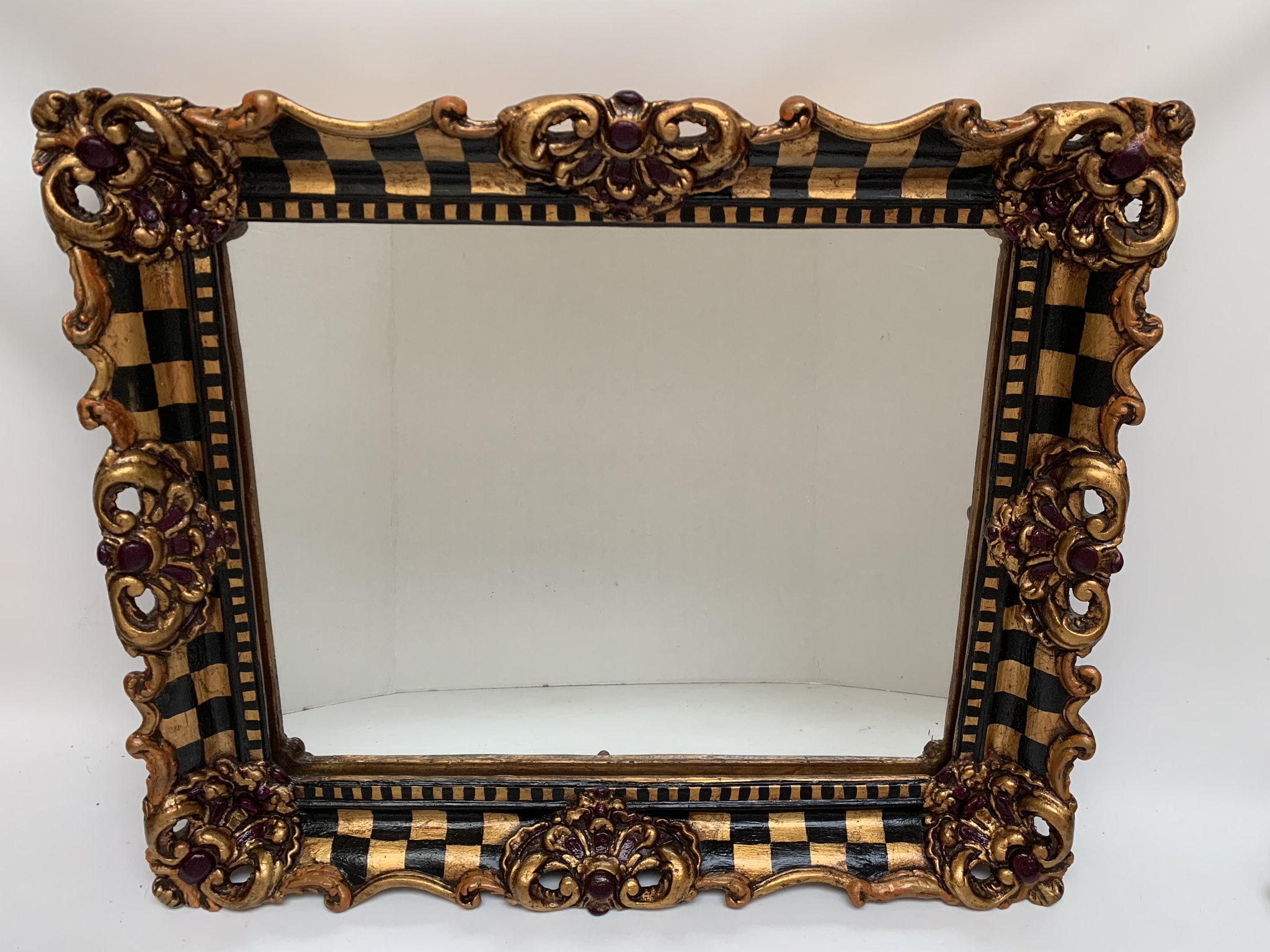 Latest Whimsical Checked Gold Gilt Wall Mirror Hand Painted Alice In Wonderland  Decor Throughout Whimsical Wall Mirrors (Gallery 8 of 20)