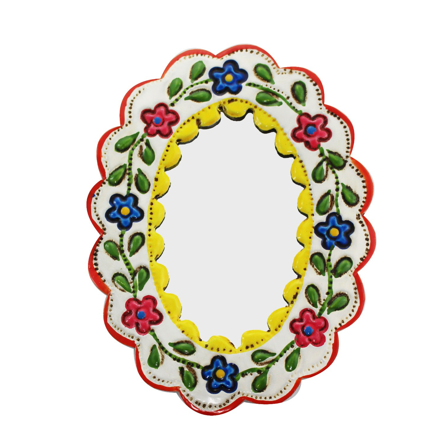 Latest Yellow Wall Mirrors With Regard To Decorative Wall Mirror Small Yellow And White – Oval Kaufen (View 20 of 20)
