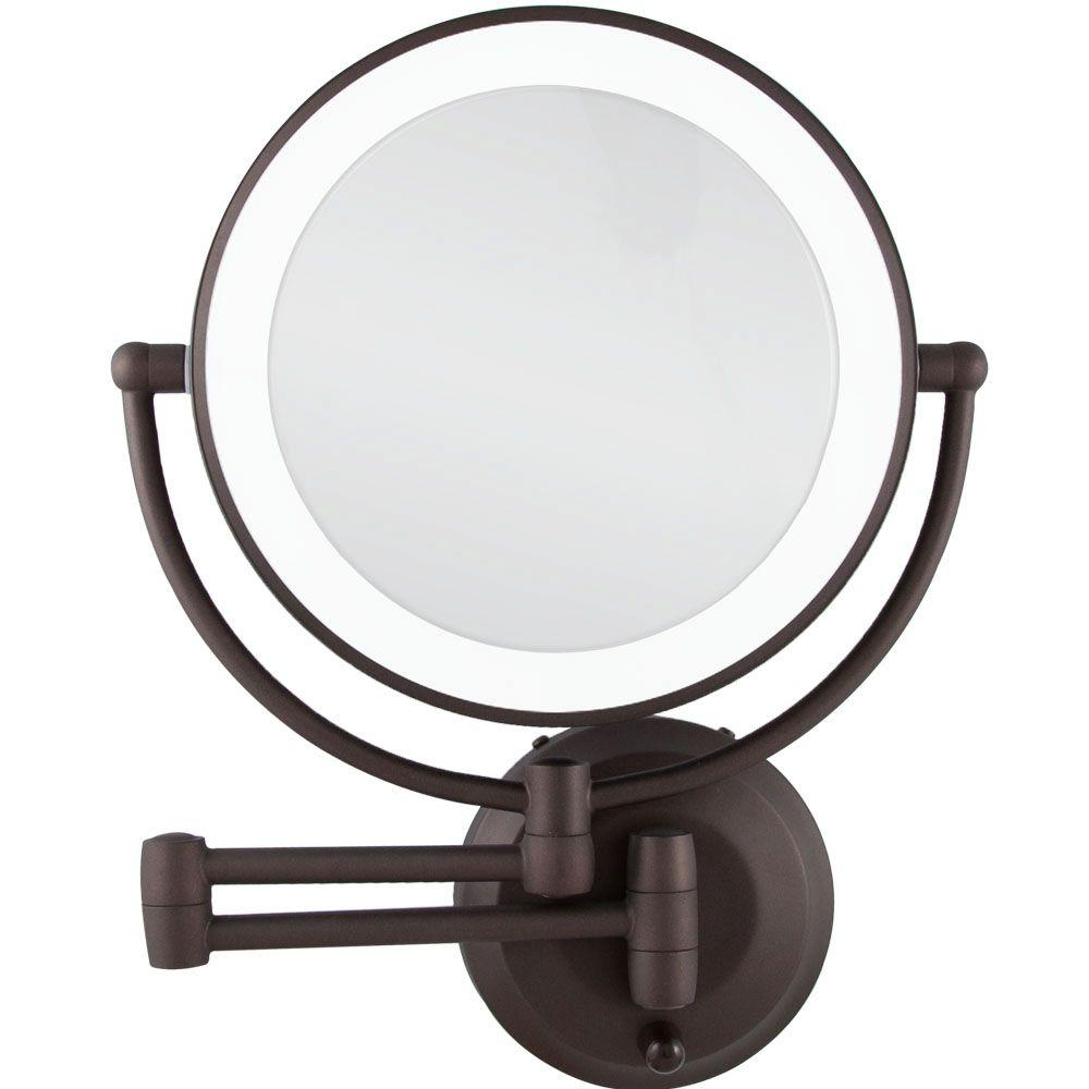 Latest Zadro 15 In. L X 12 In. W Led Lighted Wall Makeup Mirror In Oil Rubbed  Bronze With Regard To Lighted Wall Mirrors (Gallery 8 of 20)