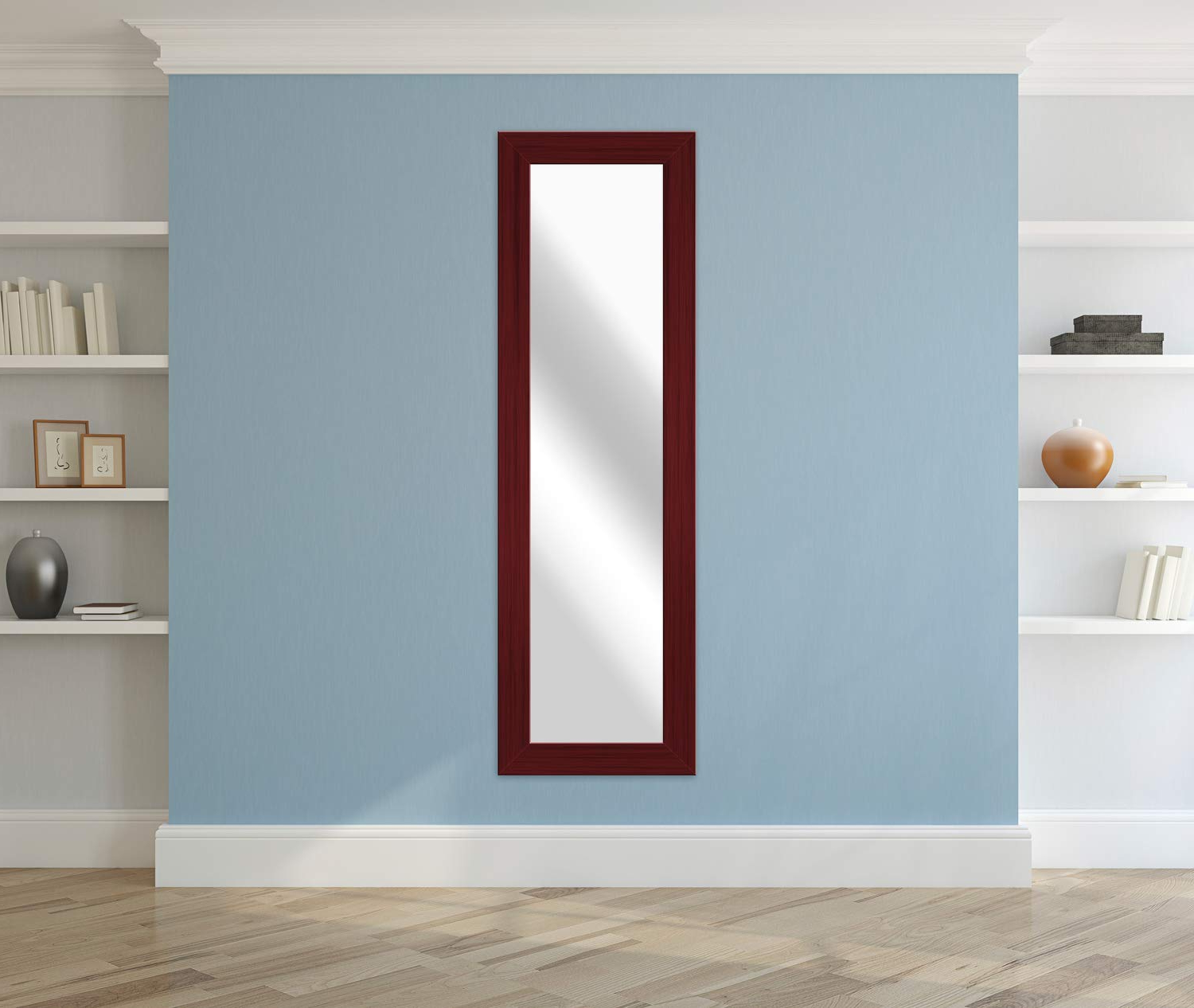 "Leaning Wall Mirrors With Regard To Most Up To Date Mirrotek Jumbo Wide Frame Over The Door Wall Mounted Or Floor Leaning Mirror 18"" X 66"", Cherry (View 10 of 20)"