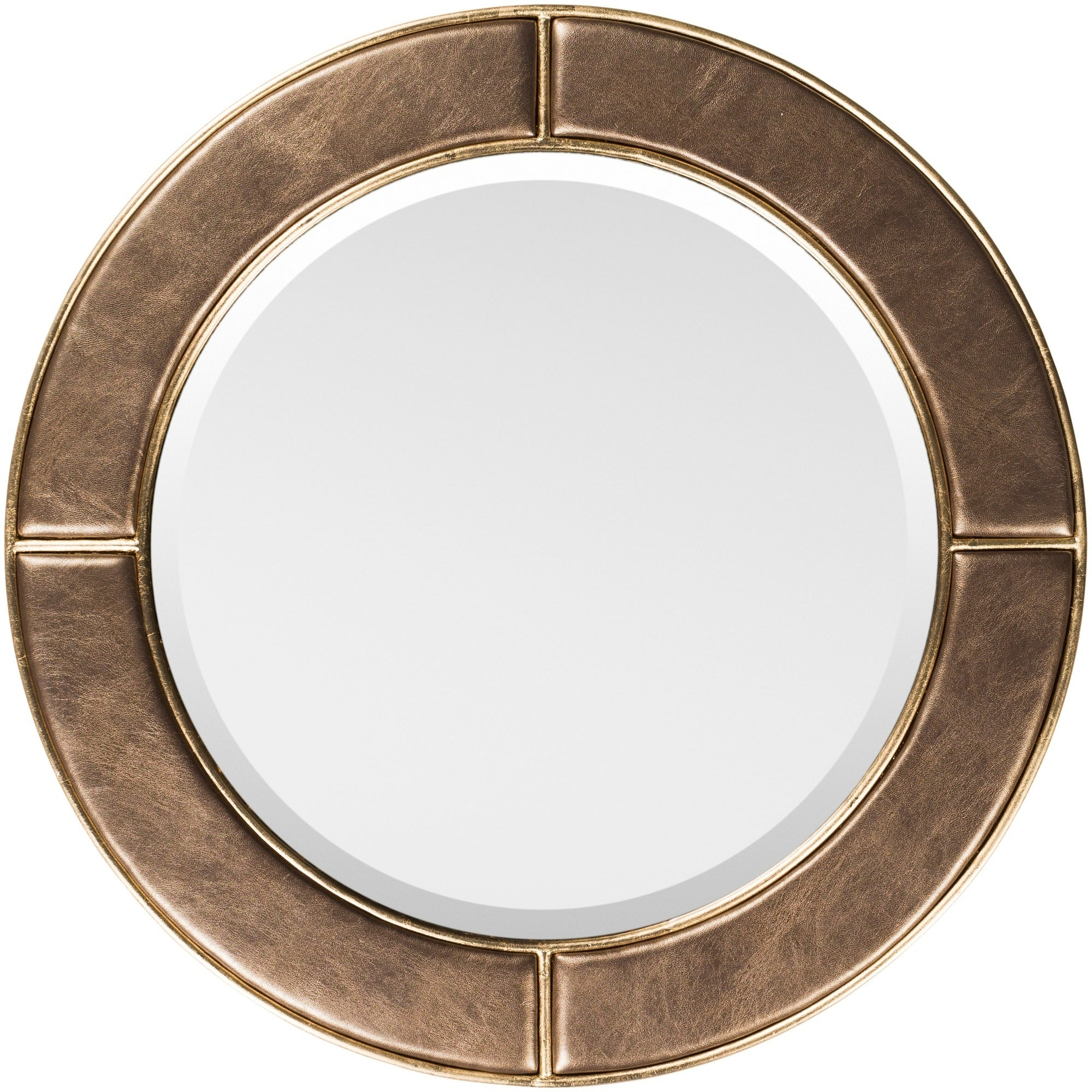 "Leather Framed Wall Mirrors For Best And Newest Lazaros Bronze Faux Leather Framed 32"" X 32"" Beveled Wall Mirror – 31.9"" X (View 20 of 20)"