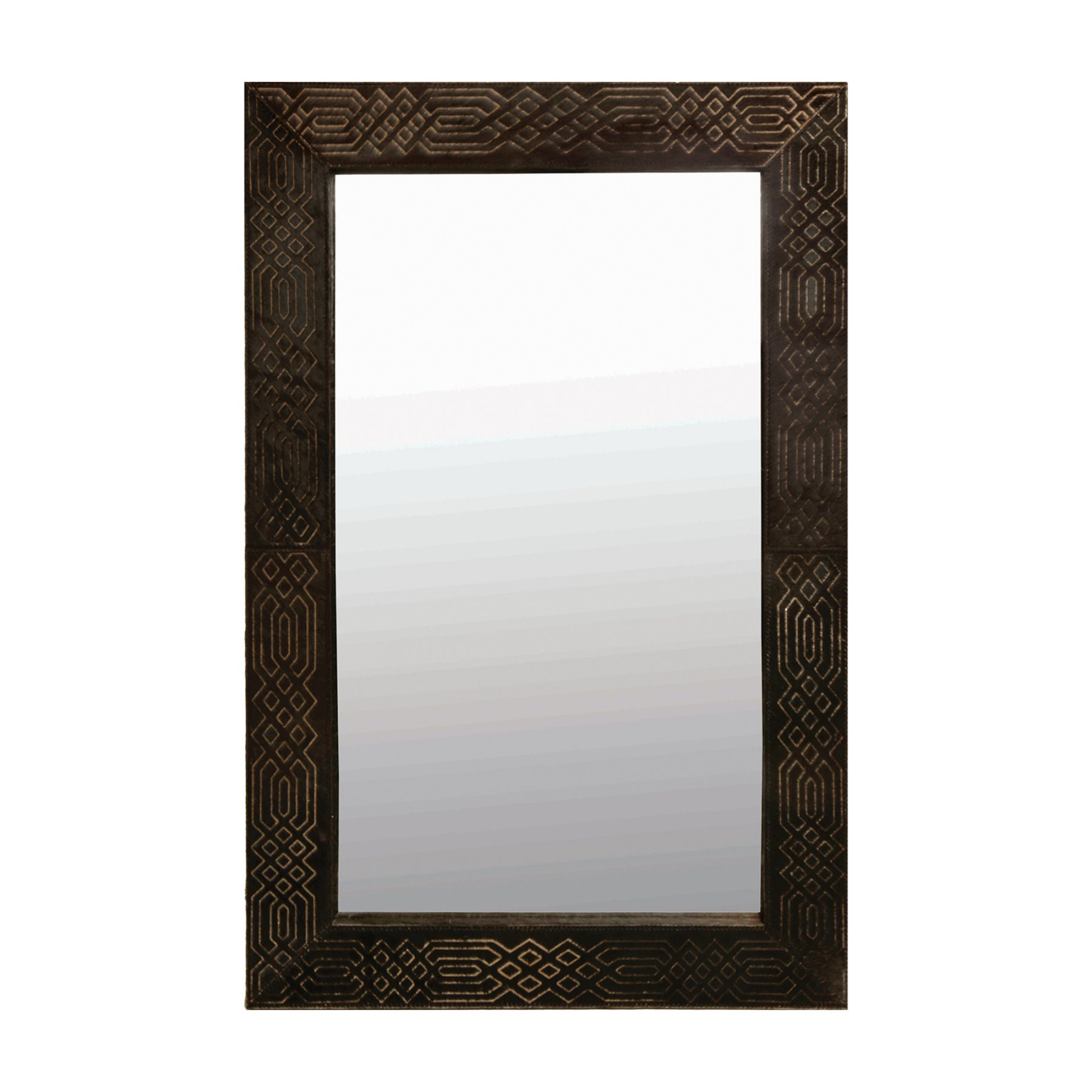 Leather Framed Wall Mirrors In Preferred Renwil Cassini Black And White Hair On Leather Framed Wall Mirror (View 11 of 20)
