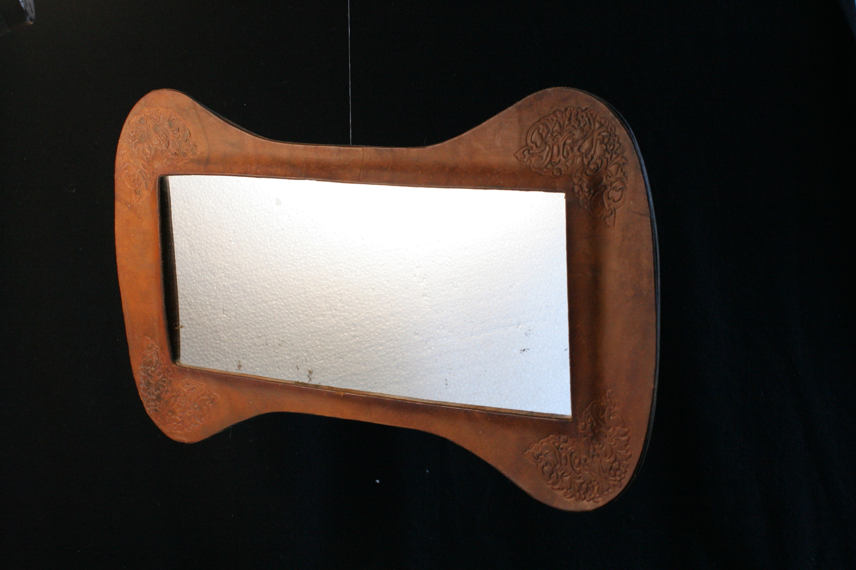 Leather Wall Mirrors Inside Well Known Leather Wall Mirror, Vintage Landscape Mirror, French Or North African Free Form Horizontal Tooled Mirror / 1960S 70S (View 17 of 20)