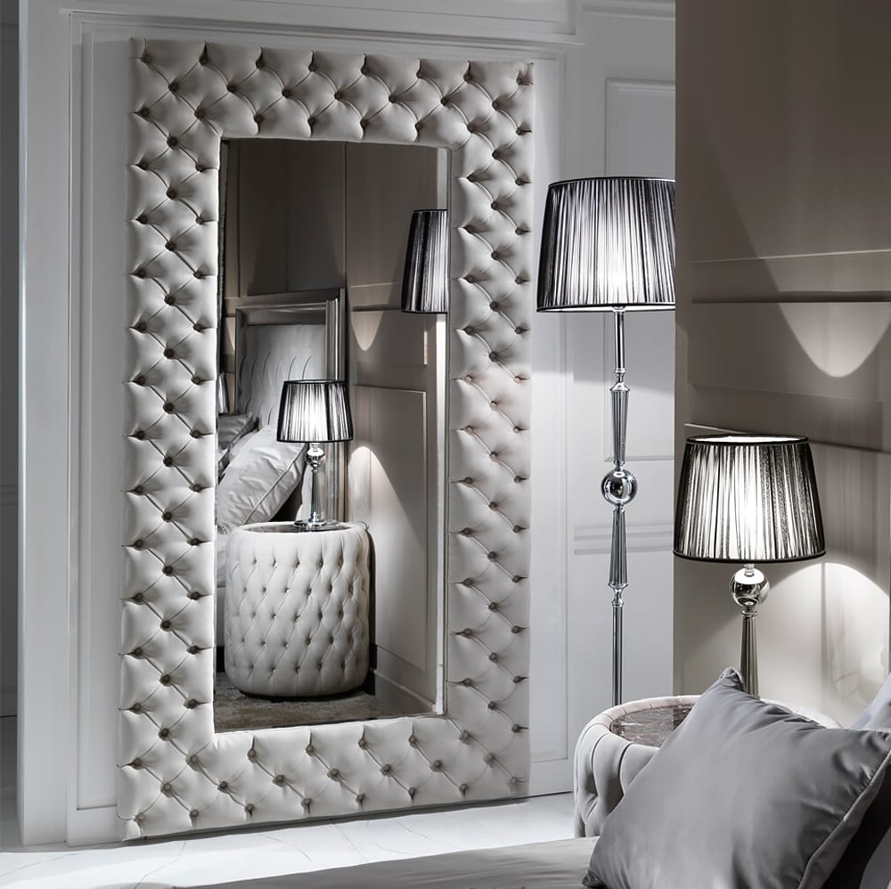 Leather Wall Mirrors Pertaining To Trendy Large Modern Button Upholstered Nubuck Leather Wall Mirror (Gallery 3 of 20)