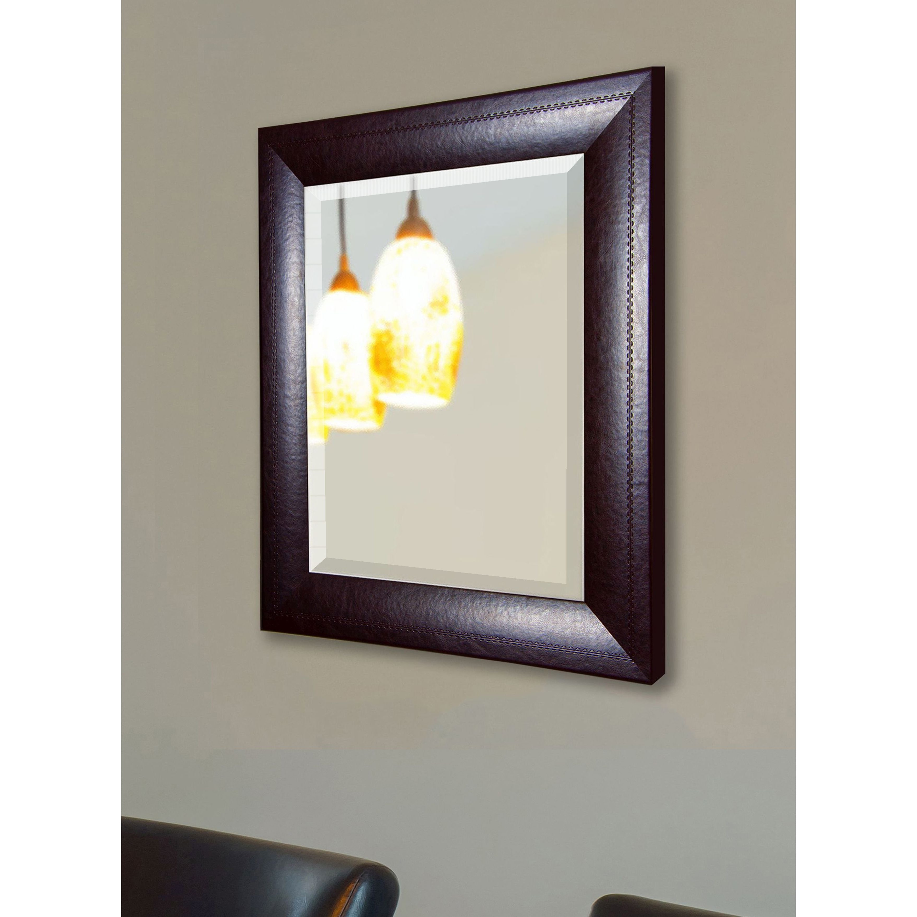 Leather Wall Mirrors With Regard To Fashionable Rayne Mirrors American Made Rayne Espresso Leather Wall Mirror (View 14 of 20)