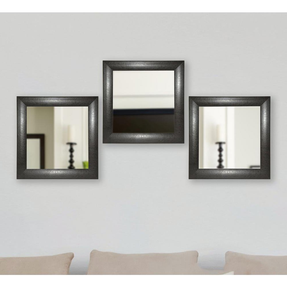 Leather Wall Mirrors With Regard To Trendy 21.75 In. X 21.75 In. Espresso Leather Square Wall Mirrors (Set Of 3) (Gallery 19 of 20)