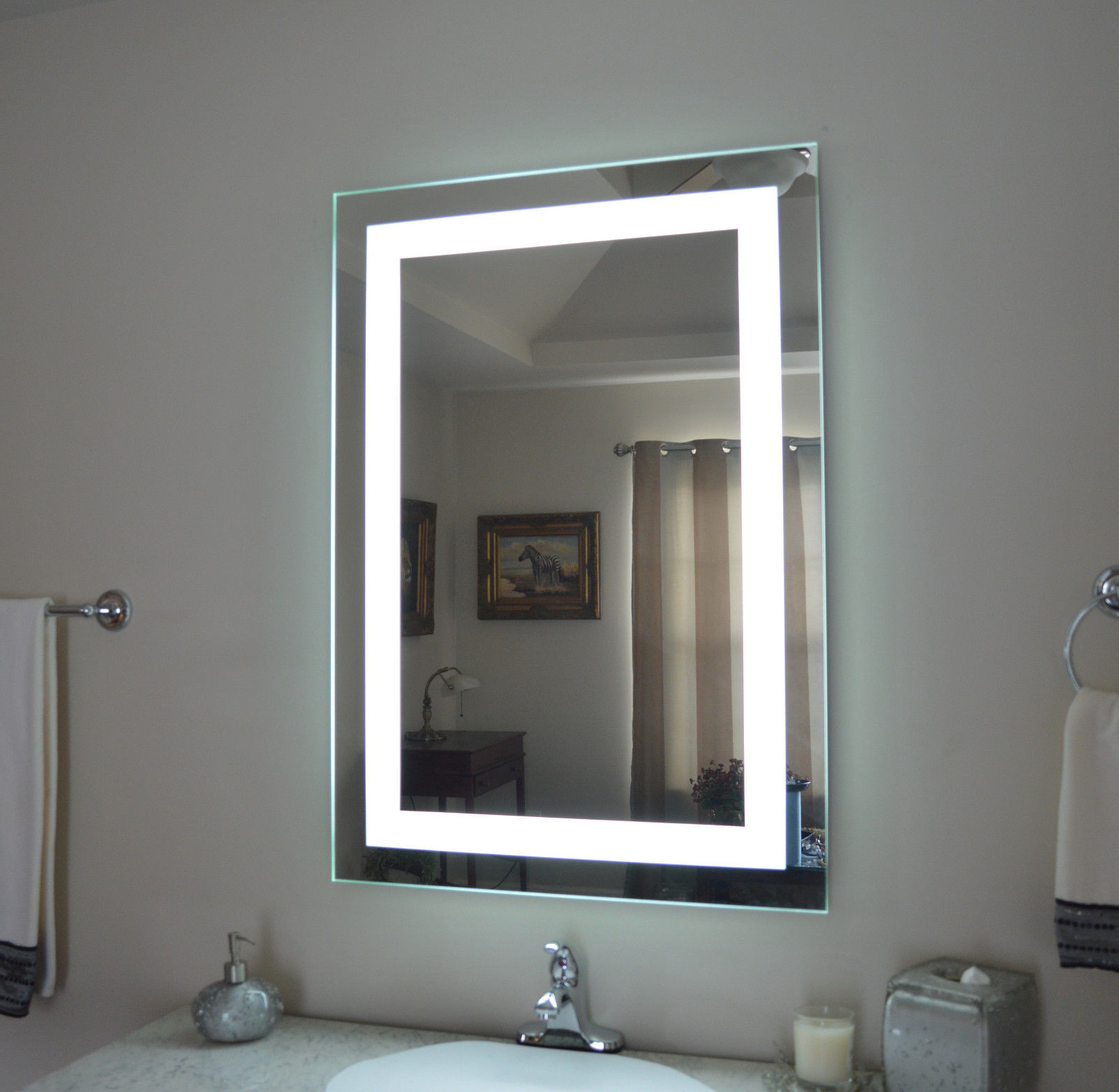 Led Bathroom Wall Mirror Illuminated Lighted Vanity Mirror With Touch Button Ega In Famous Lighted Bathroom Wall Mirrors (View 6 of 20)