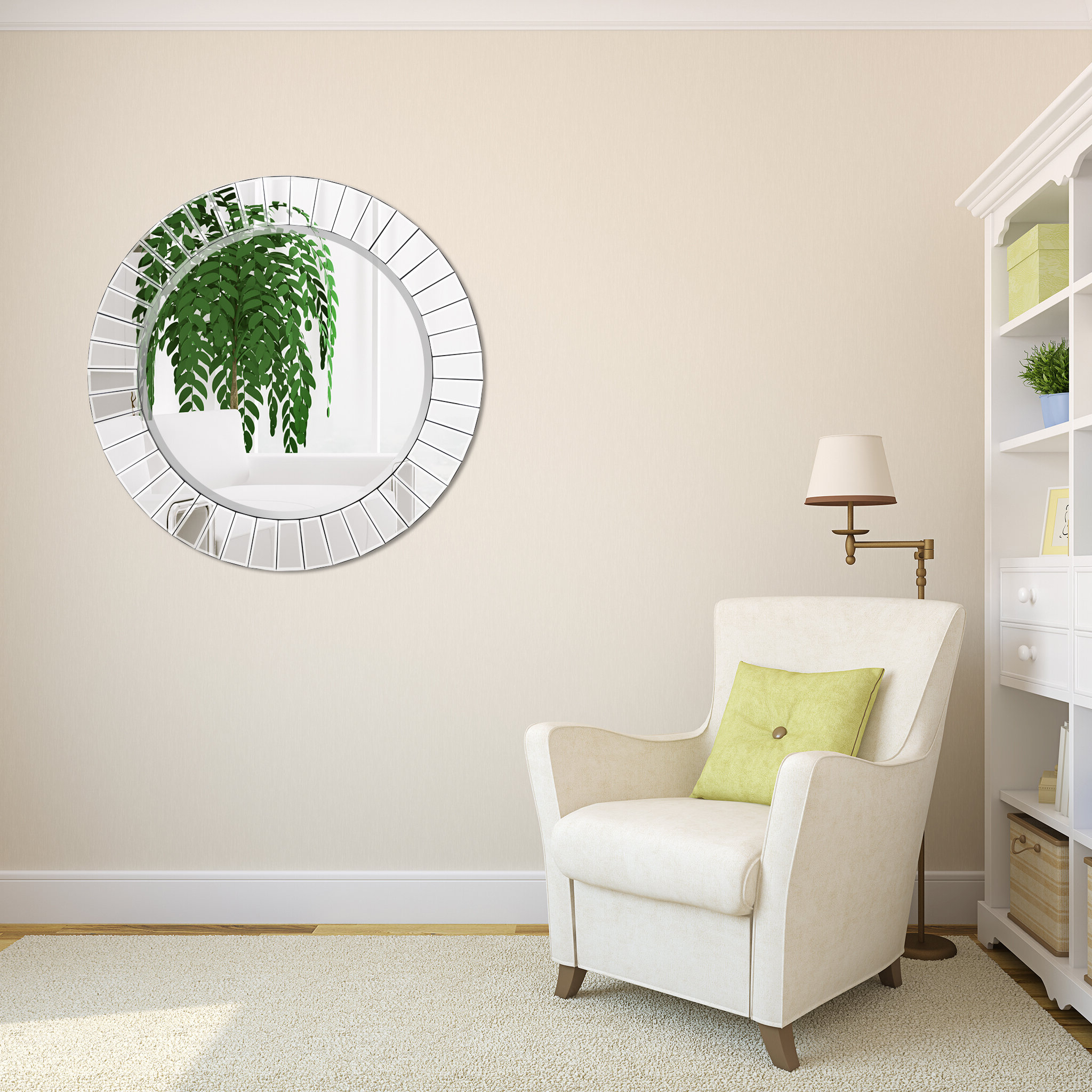 Lidya Frameless Beveled Wall Mirrors Regarding Favorite Meira Modern Round Beveled Wall Mirror (Gallery 15 of 20)