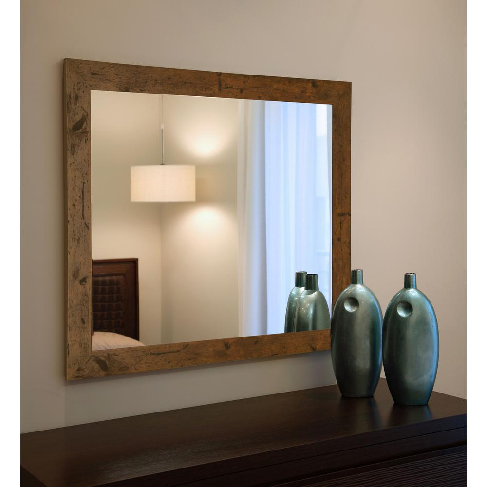 Light Wall Mirrors In Current 36 In. X 24 In. Rustic Light Walnut Non Beveled Vanity Wall Mirror (Gallery 14 of 20)
