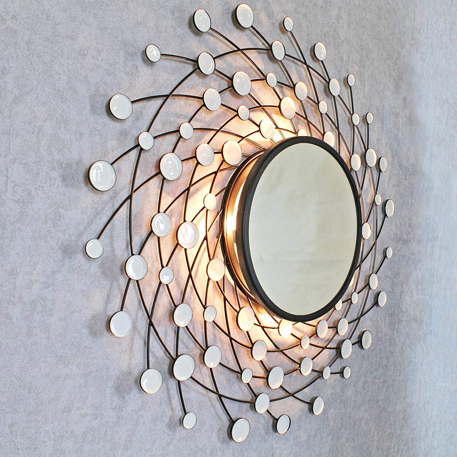 Light Wall Mirrors Inside Latest Elpis Antique Copper Sunburst Rays Light Wall Mirrorg (View 17 of 20)