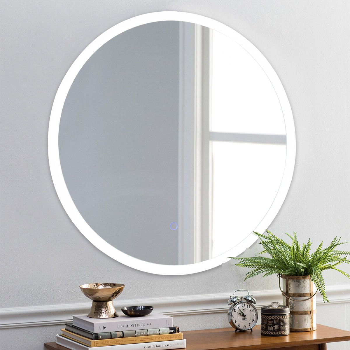 Light Wall Mirrors Throughout Popular Costway 24'' Led Mirror Illuminated Light Wall Mount Bathroom Round Make Up Touch Button (View 4 of 20)