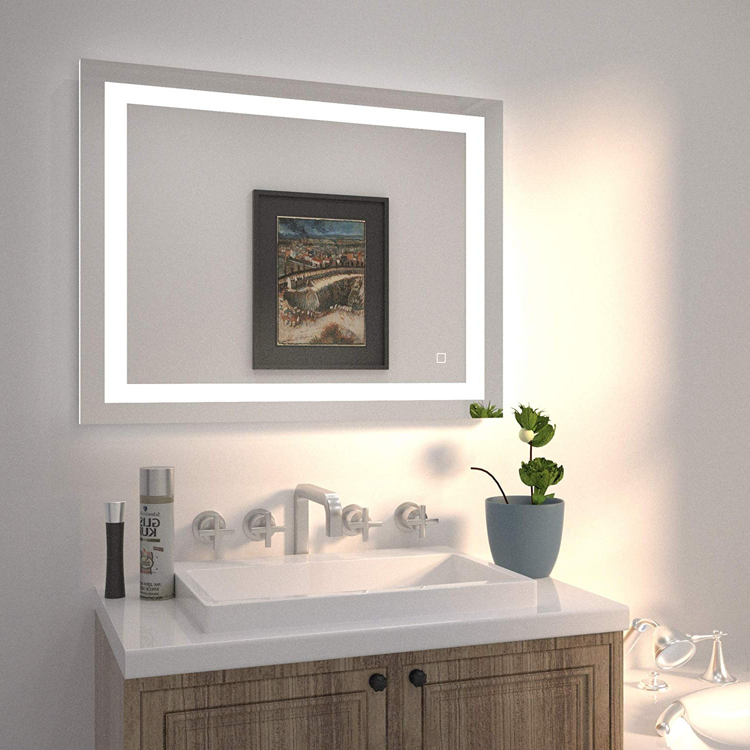 Lighted Bathroom Wall Mirrors Intended For Recent Hauschen 36X28 Inch Led Lighted Bathroom Wall Mounted Mirror With High Lumen+Cri 90 Adjustable Warm White/daylight Lights+Anti Fog+Dimmable Memory (View 10 of 20)